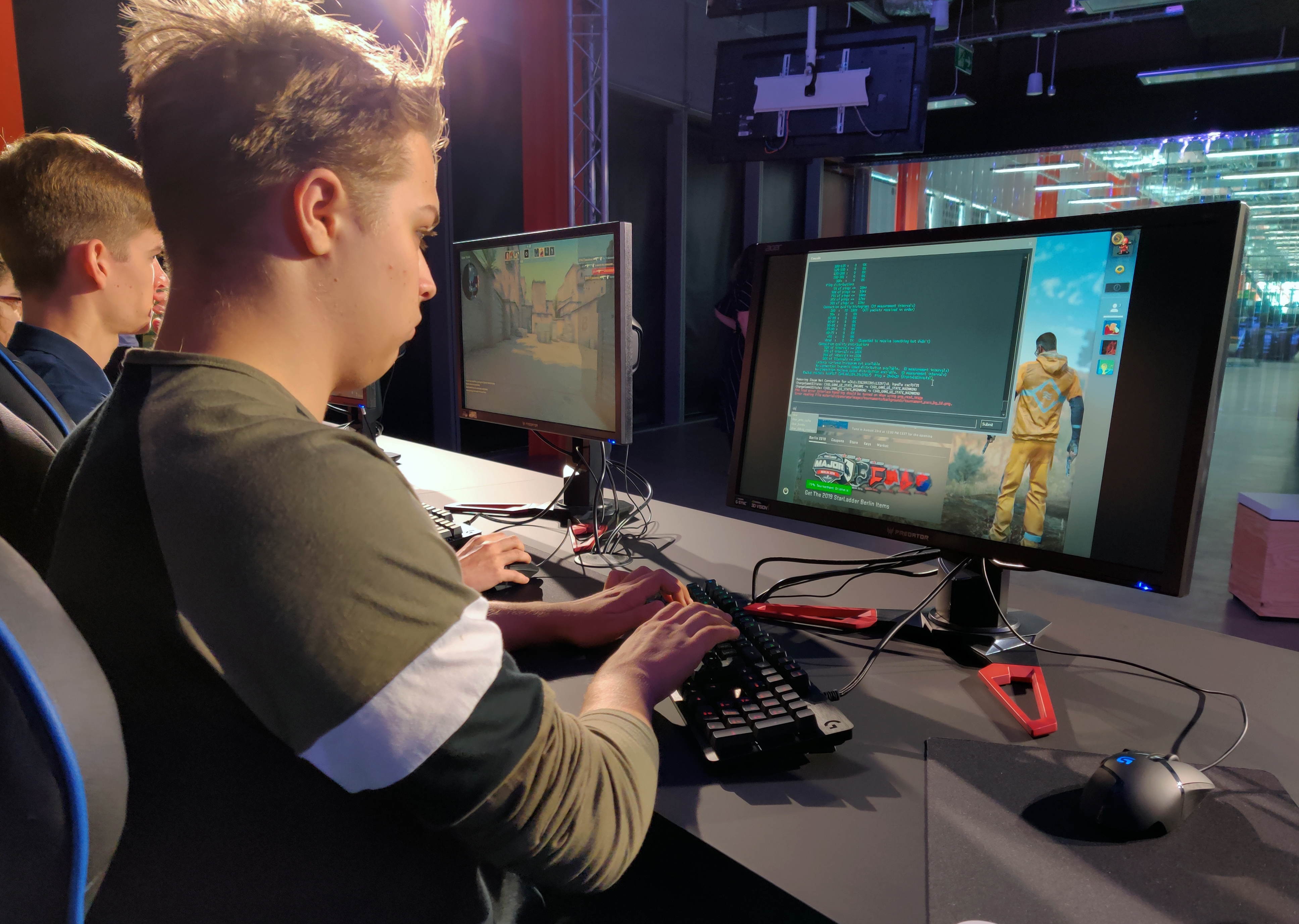 """Ryan Chapman and other students starting Staffordshire University's esports degree course play """"Counter-Strike"""" in the school's new London digital studio."""