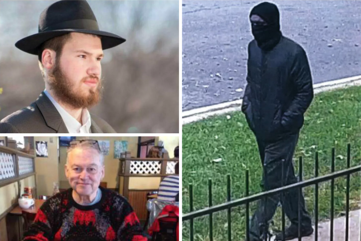 Previously released a surveillance photo of a masked man suspected in the murders of Eliyahu Moscowitz (top left) and Douglass Watts (bottom left).