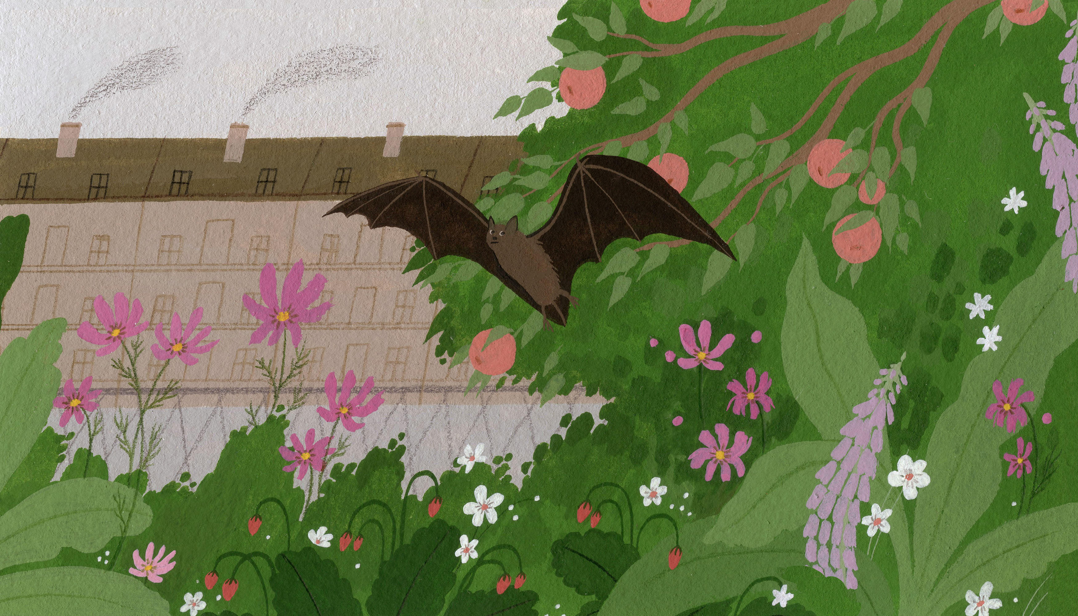 A bat flies through a lush garden with blooming pink and white flowers and lilac. In the background there is a chainlink fence and a gloomy-looking building emitting smog. Illustration.