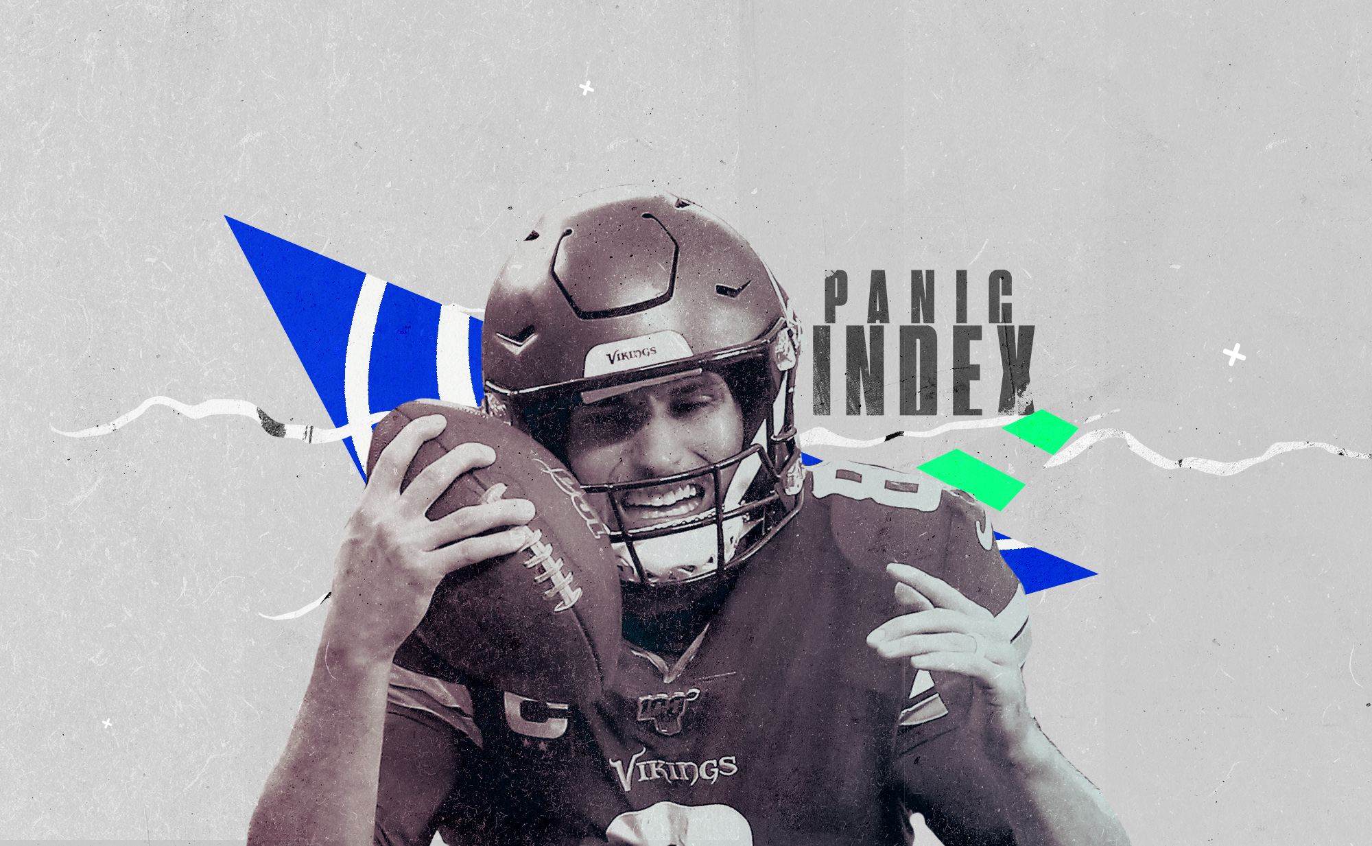 Vikings QB Kirk Cousins holds ball to his cheek, superimposed on a background with geometric shapes