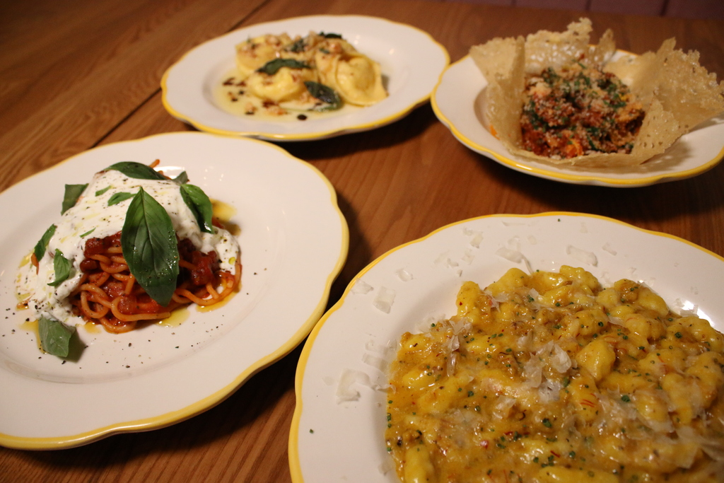 Tortelli, zucchini, casarecce, and chiusoni pastas served at Tortello.