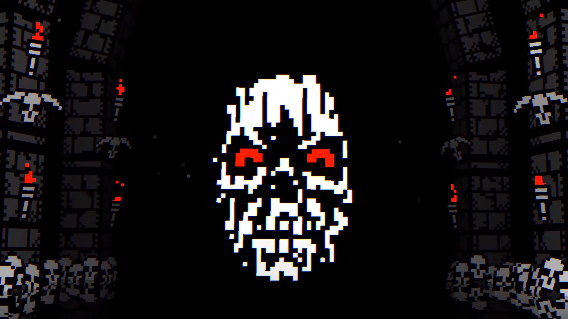 A pixelated skull floats in a dark dungeon