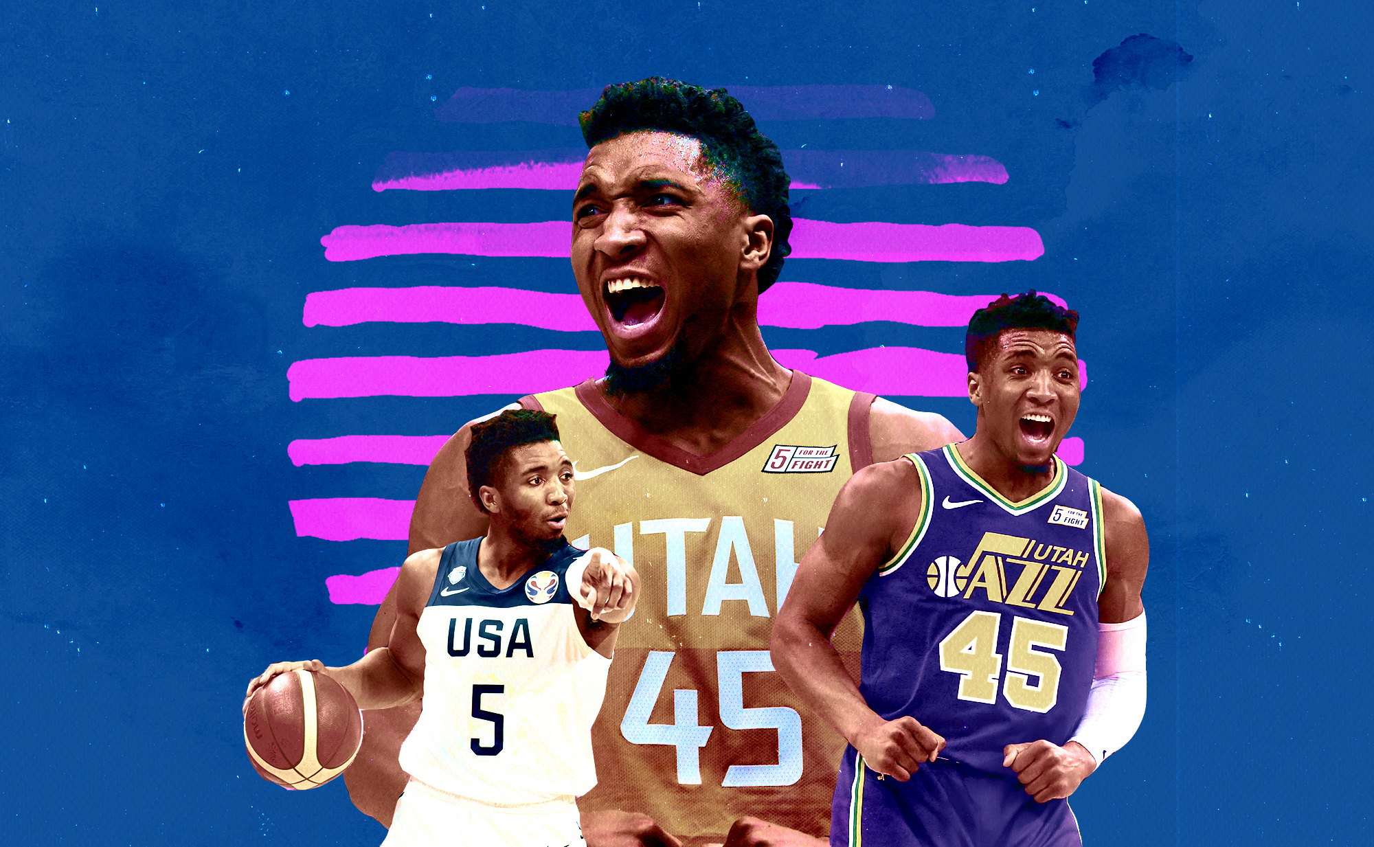 A collage of Donovan Mitchell photos from the Utah Jazz and Team USA superimposed over a backdrop.