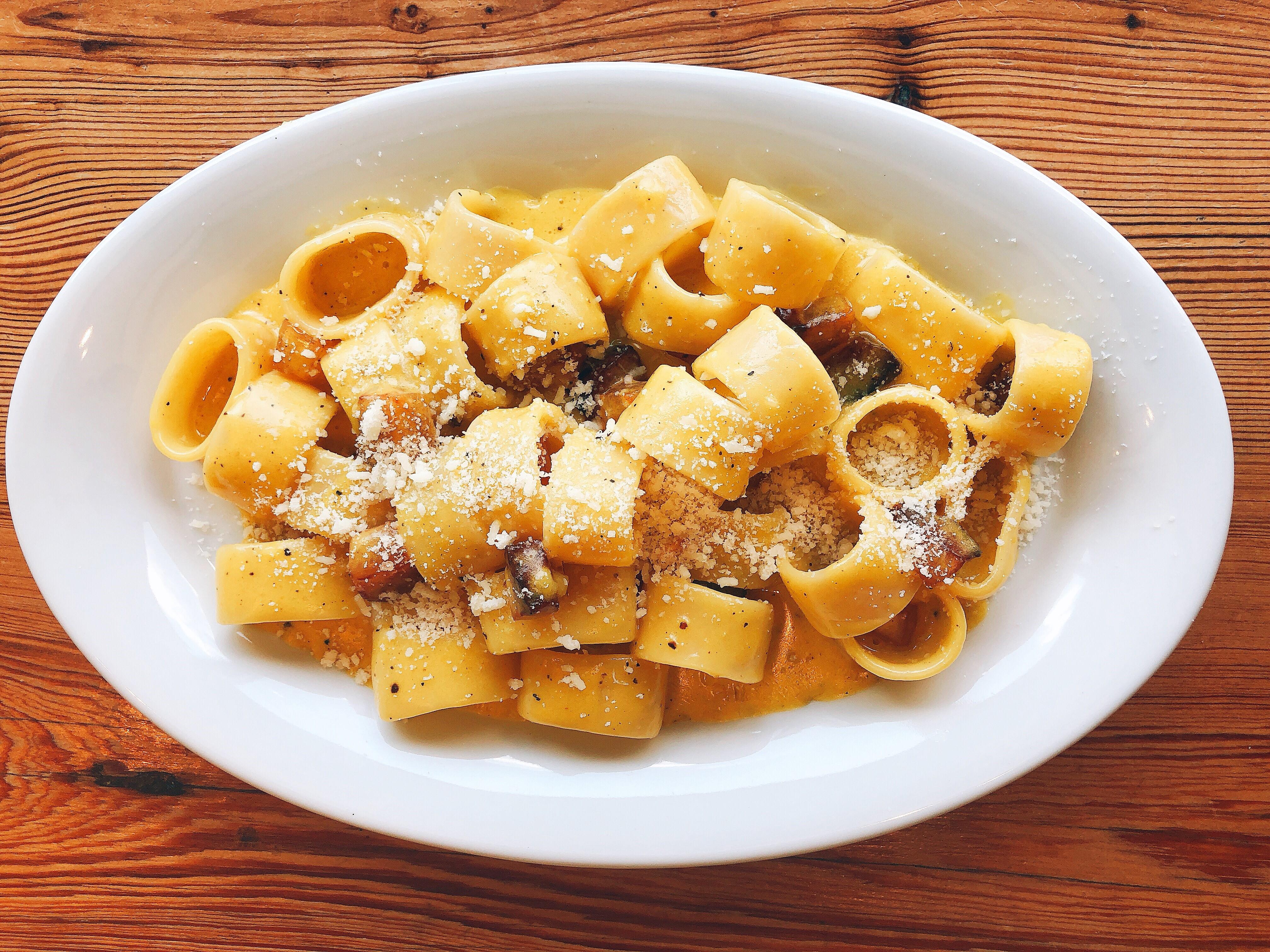 A bowl of carbonara pasta at Forza Storico