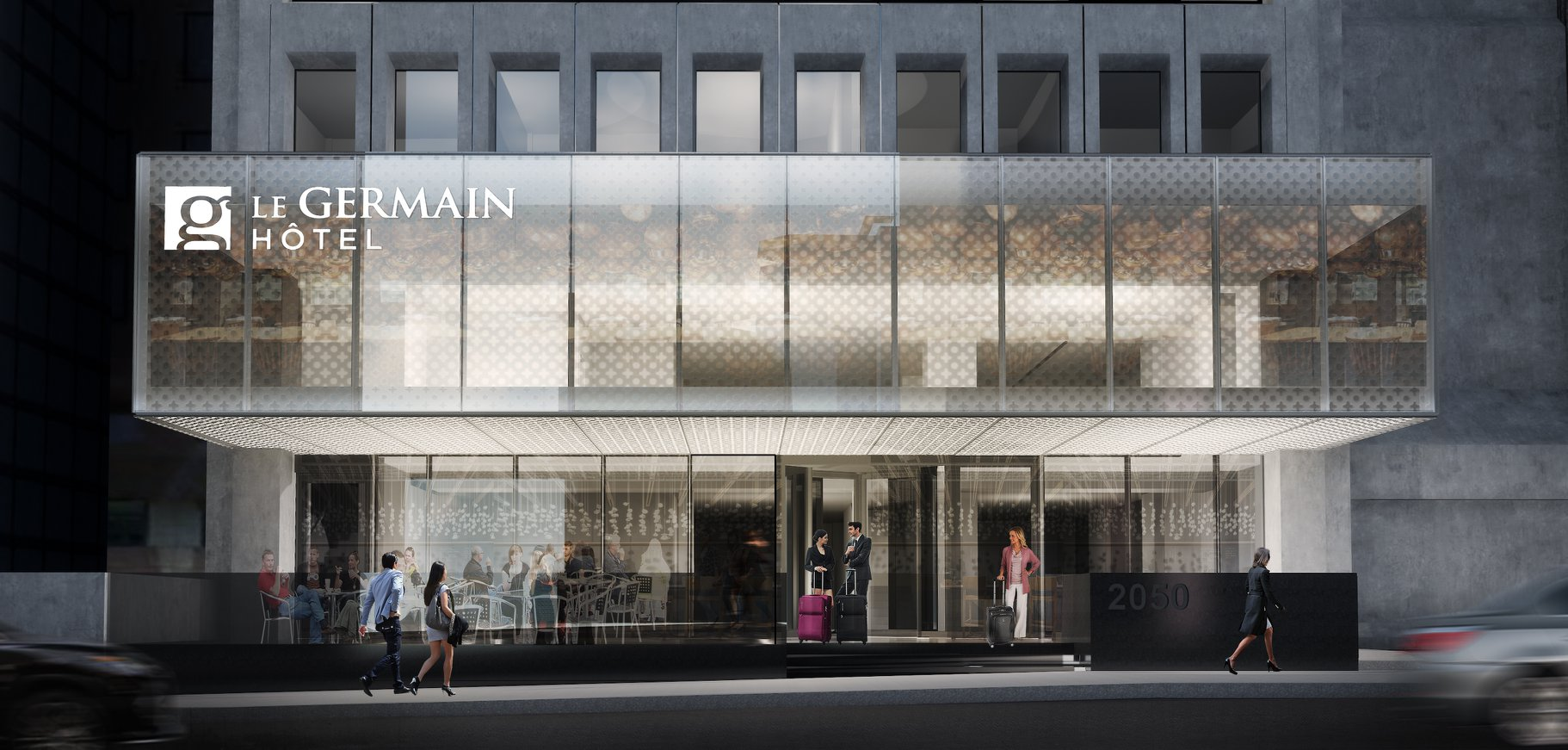 An architectural rendering of the glass exterior of Le Germain.
