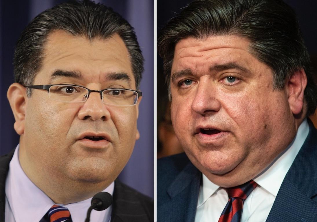 State Sen. Martin Sandoval, left; Gov. J.B. Pritzker, right.