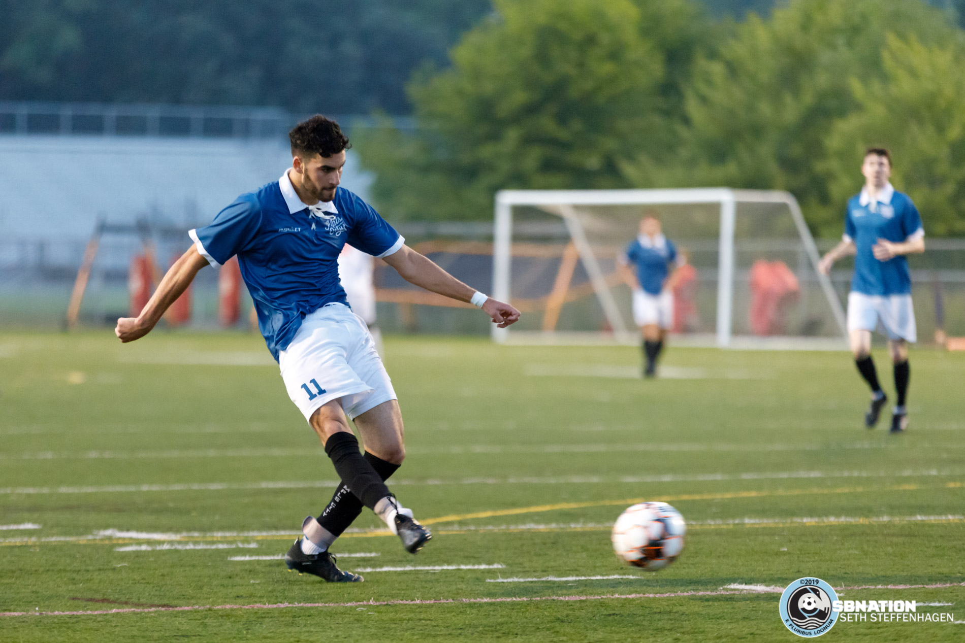 July 16, 2019 - St. Louis Park, Minnesota, United States - Minneapolis City SC midfielder Eli Goldman (11) scores the opening goal during the NPSL North playoff match against Med City FC at Benilde-St. Margaret's.