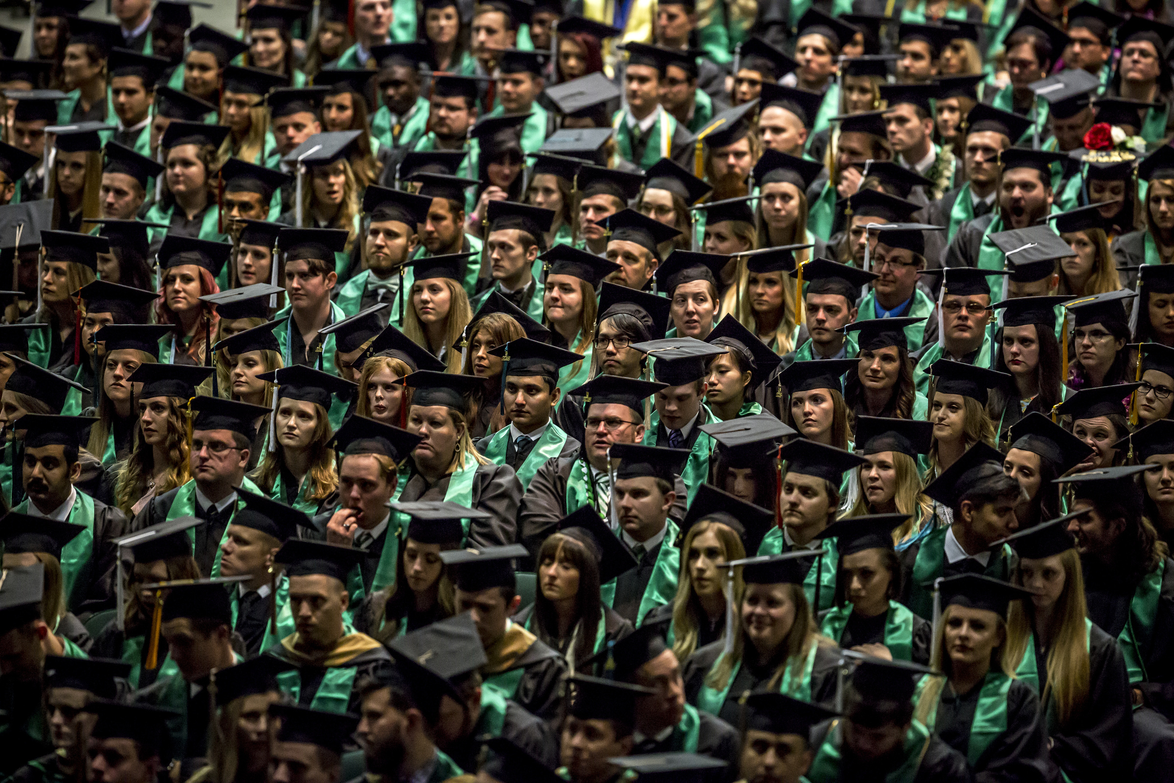 Students gather for the Utah Valley University commencement ceremony on Thursday, May 3, 2018, in Orem.