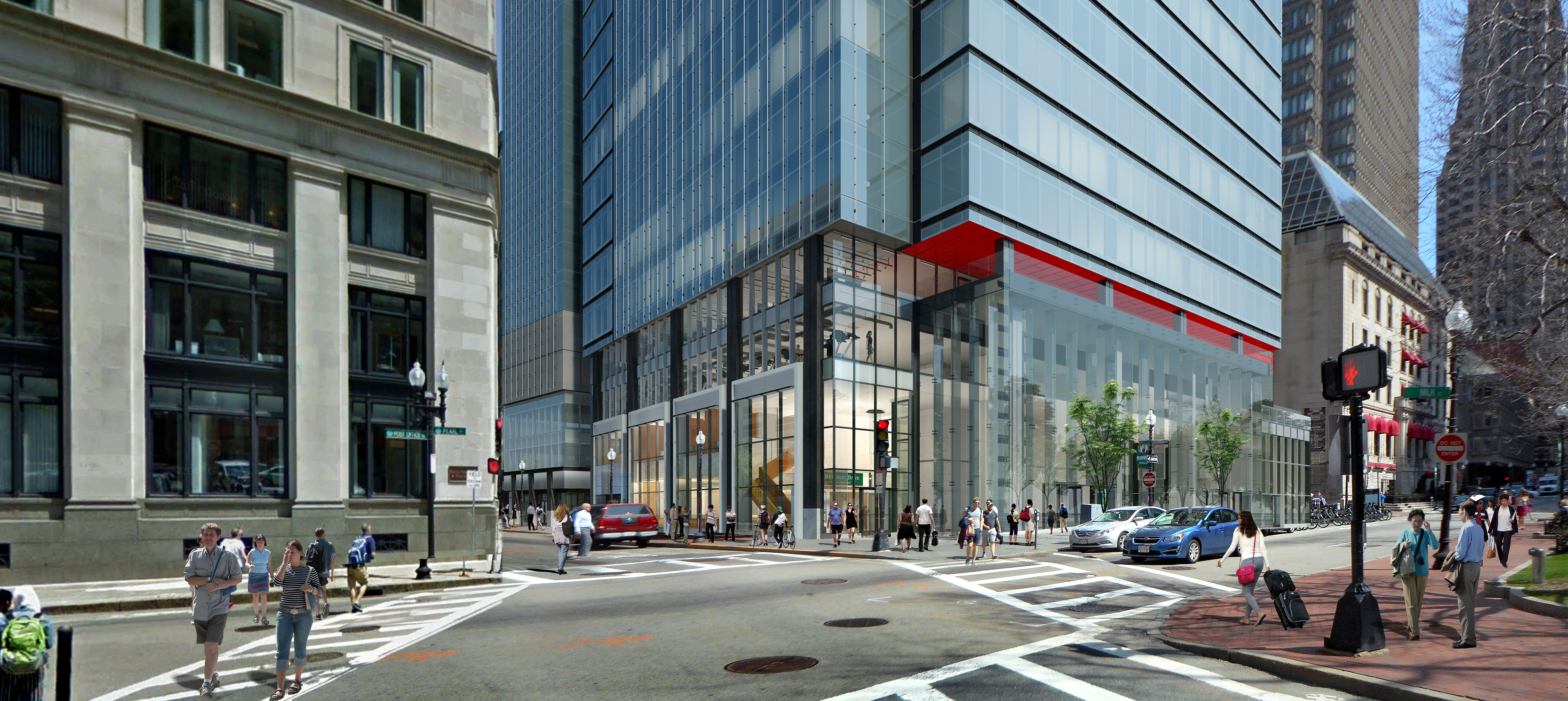 A rendering of a glassy office tower meeting a busy street and sidewalk.