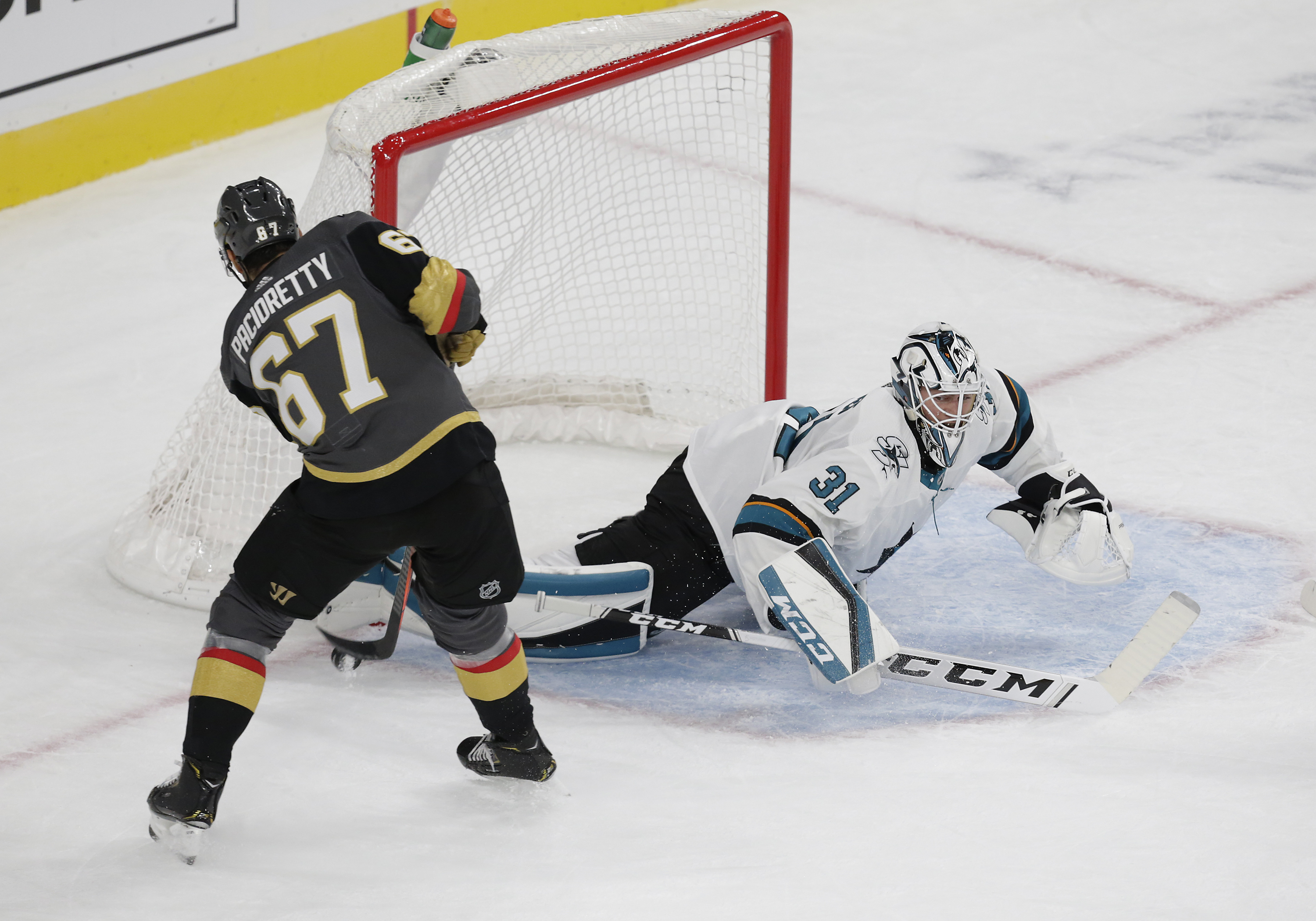 Vegas Golden Knights left wing Max Pacioretty (67) shoots the puck and is blocked by San Jose Sharks goaltender Martin Jones (31) during a regular season game Wednesday, Oct. 2, 2019, at T-Mobile Arena in Las Vegas, Nevada.