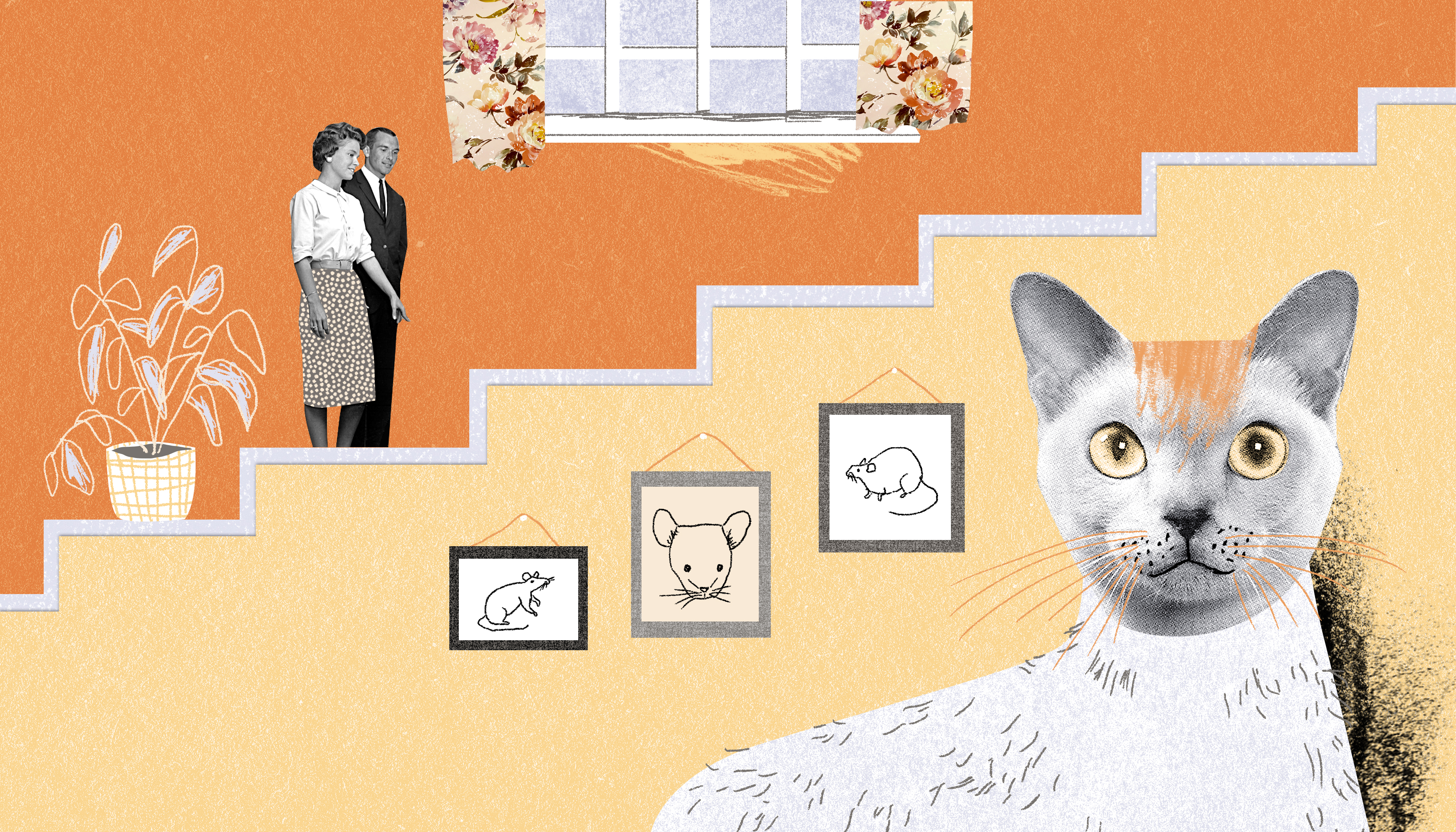 A house cat sits in the foreground with a couple on a set of stairs in the background. On the stairs there is a potted plant, and above the stairs there is a window with floral curtains. Illustration.