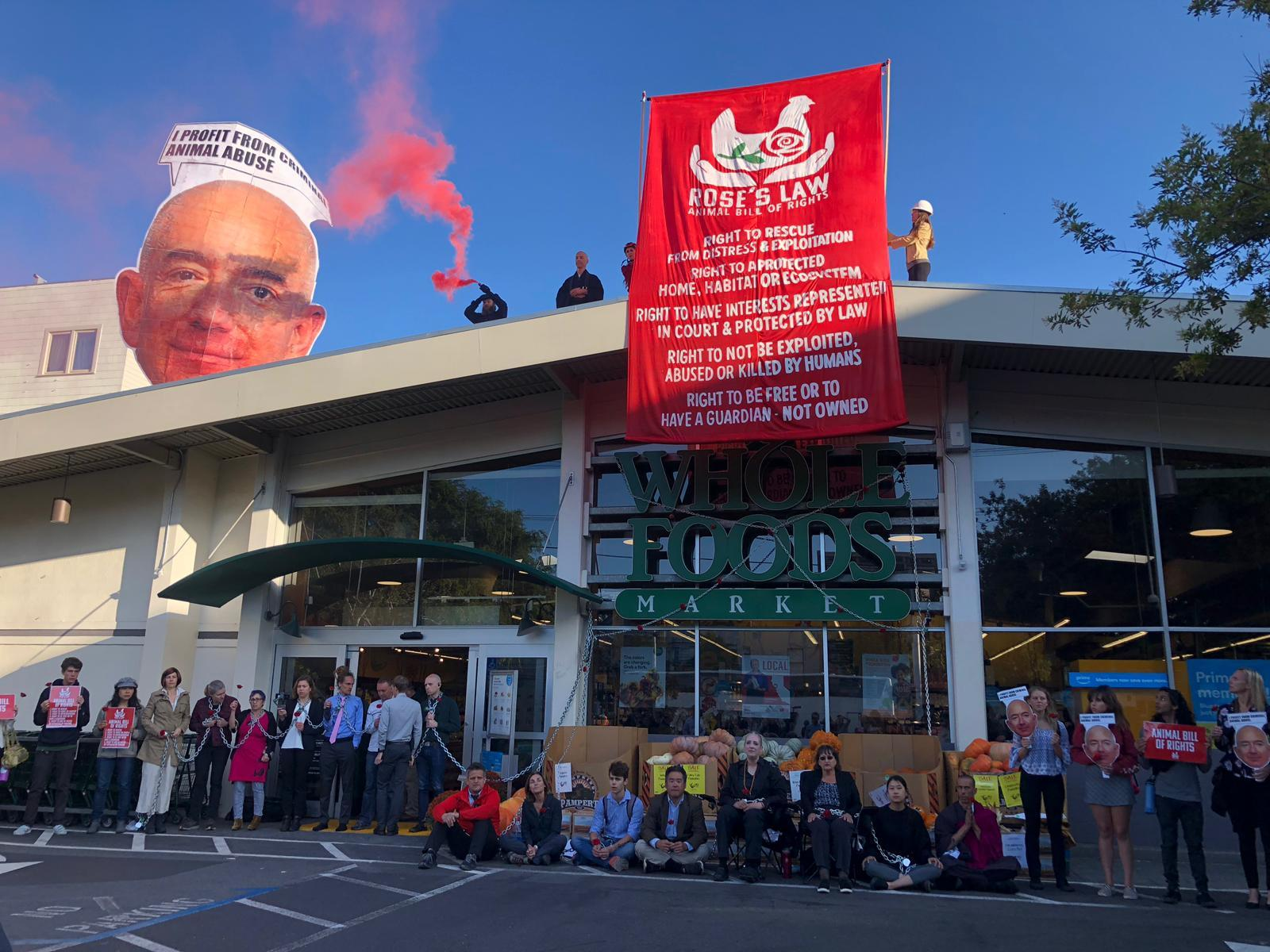 Protestors blocked a Whole Foods location in San Francisco on Monday