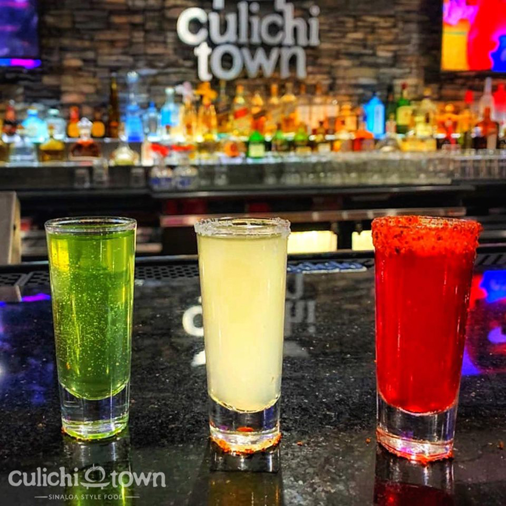 Three cocktails representing the colors of the flag of Mexico, now available at Culichtown on the westside.