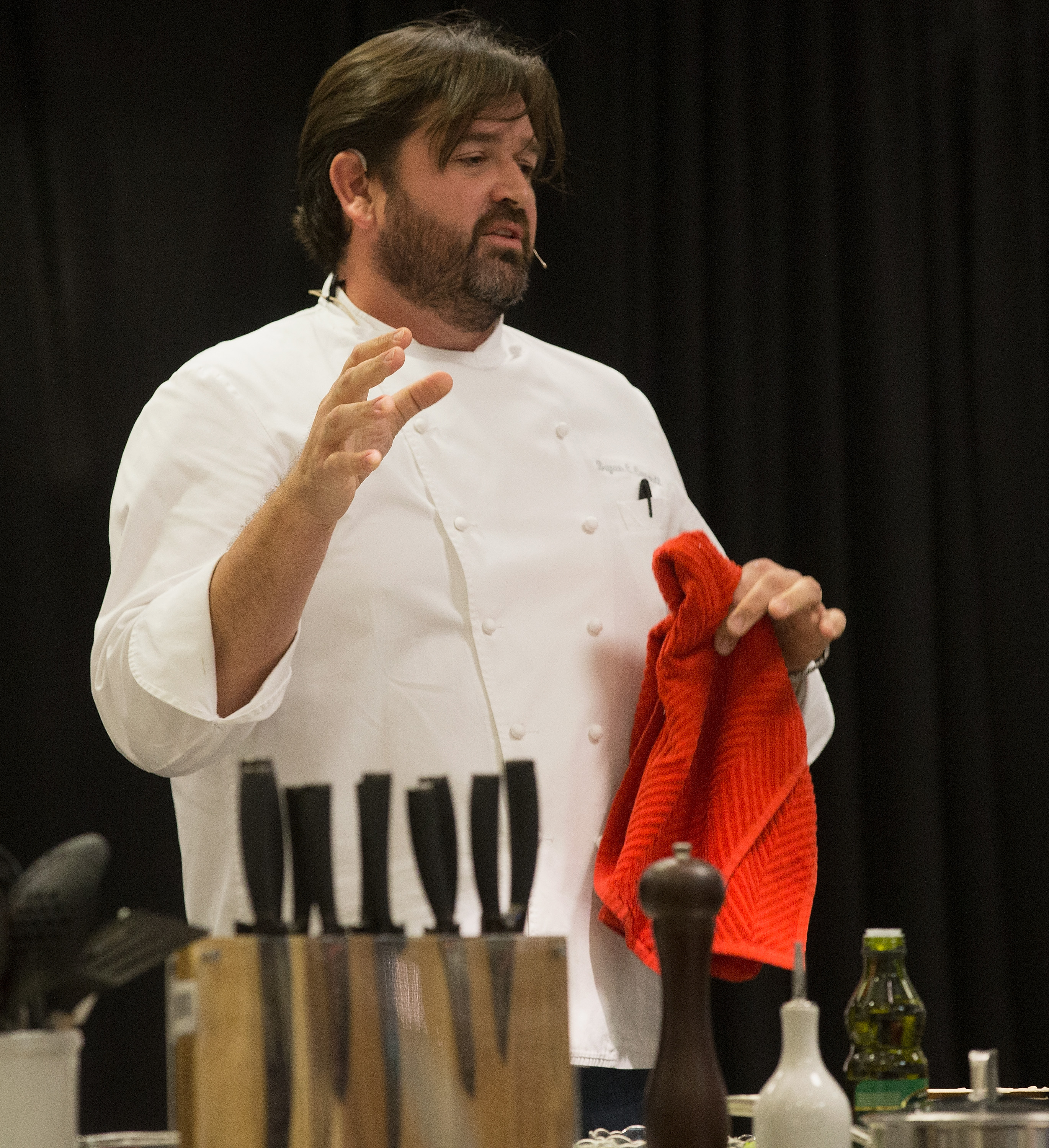 Chef Bryan Caswell Appears At Macy's Galleria For Big Game Cooking Demo