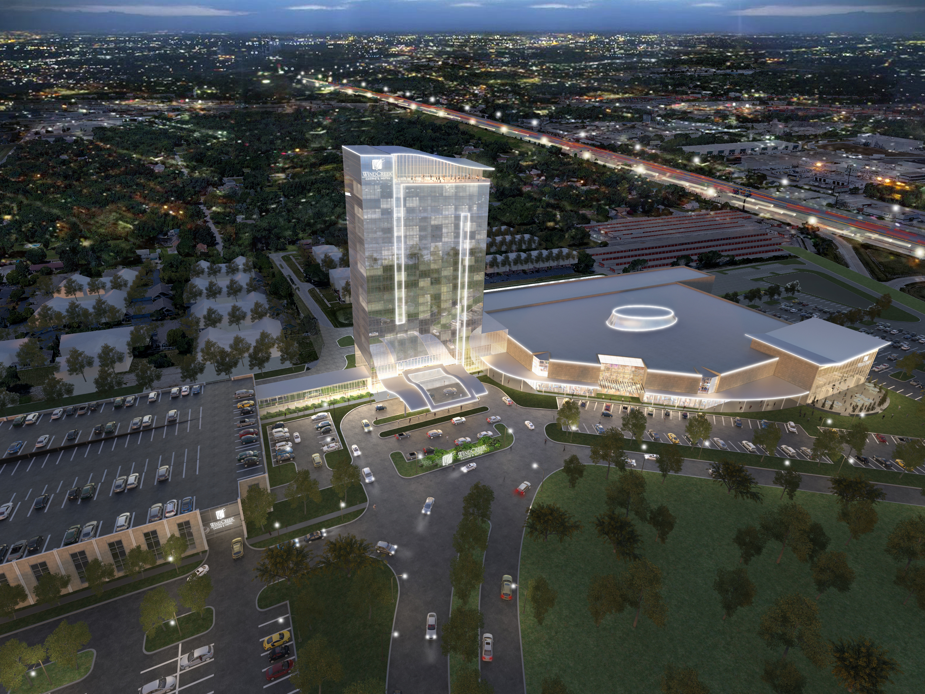 Artist's rendering of a casino proposed by Wind Creek Hospitality just off Interstate 80 near 175h Street and Halsted, straddling the border of suburban Homewood and East Hazel Crest.