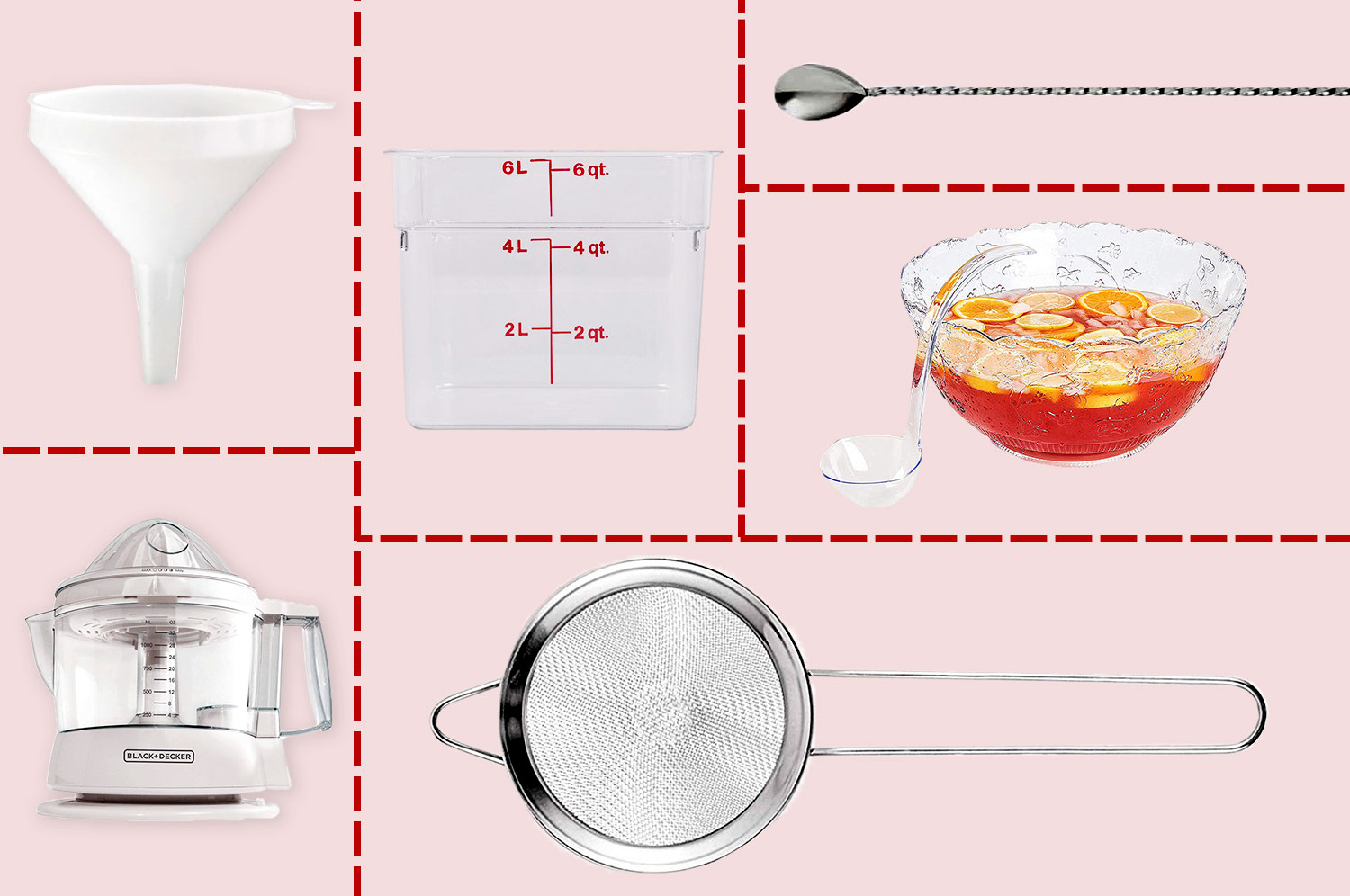 A funnel, cambro, cocktail spoon, punch bowl, electric juicer, and tea strainer arranged on a grid illustration