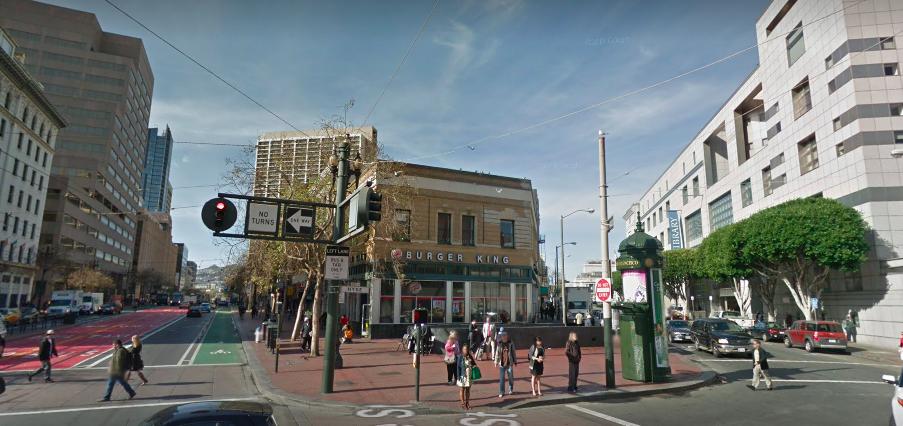 A street view of Market Street's Burger King