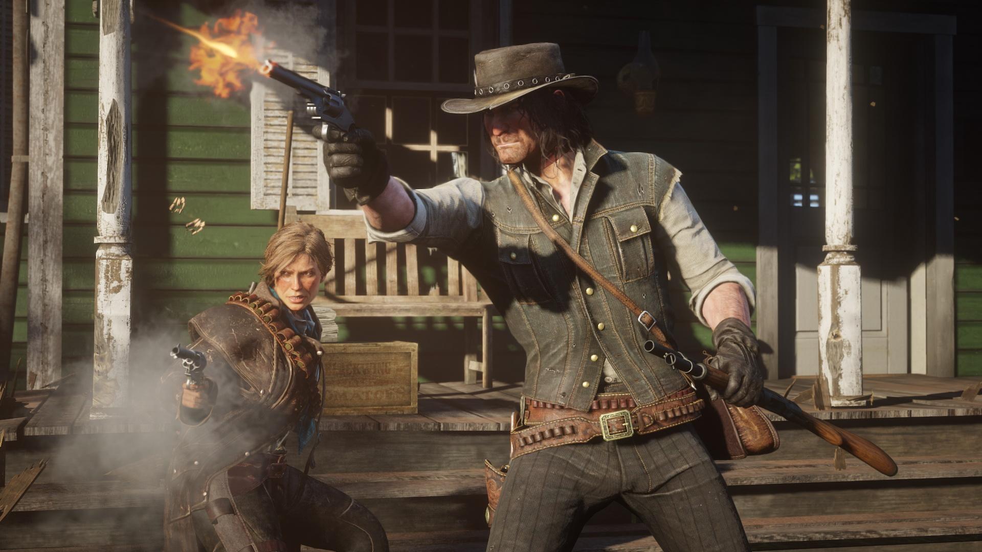 Red Dead Redemption 2 - woman and man firing guns