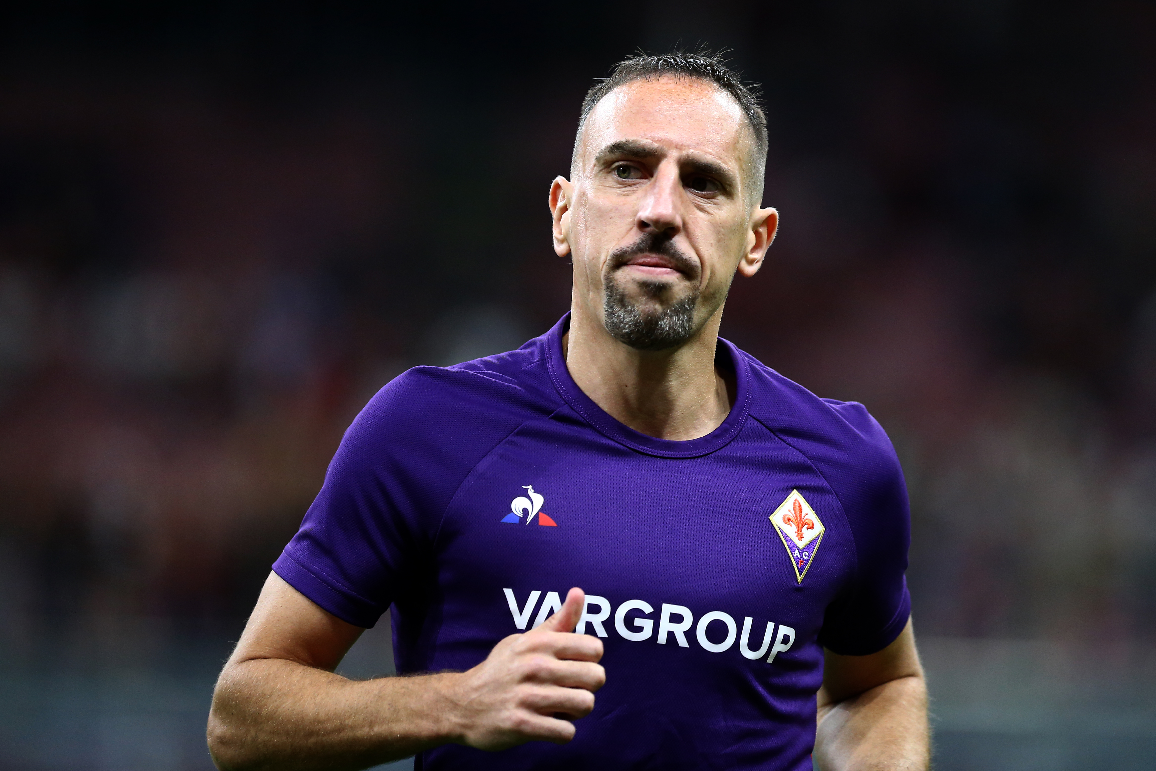 Franck Ribery of Ac Fiorentina looks on before the Serie...