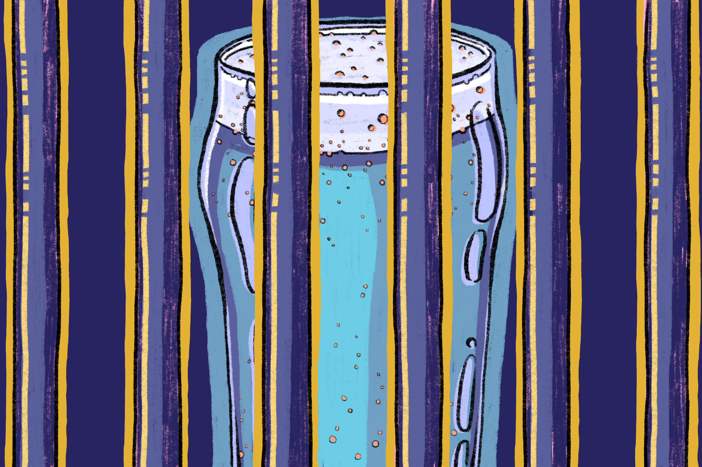 An illustration of a pint of beer locked behind bars.