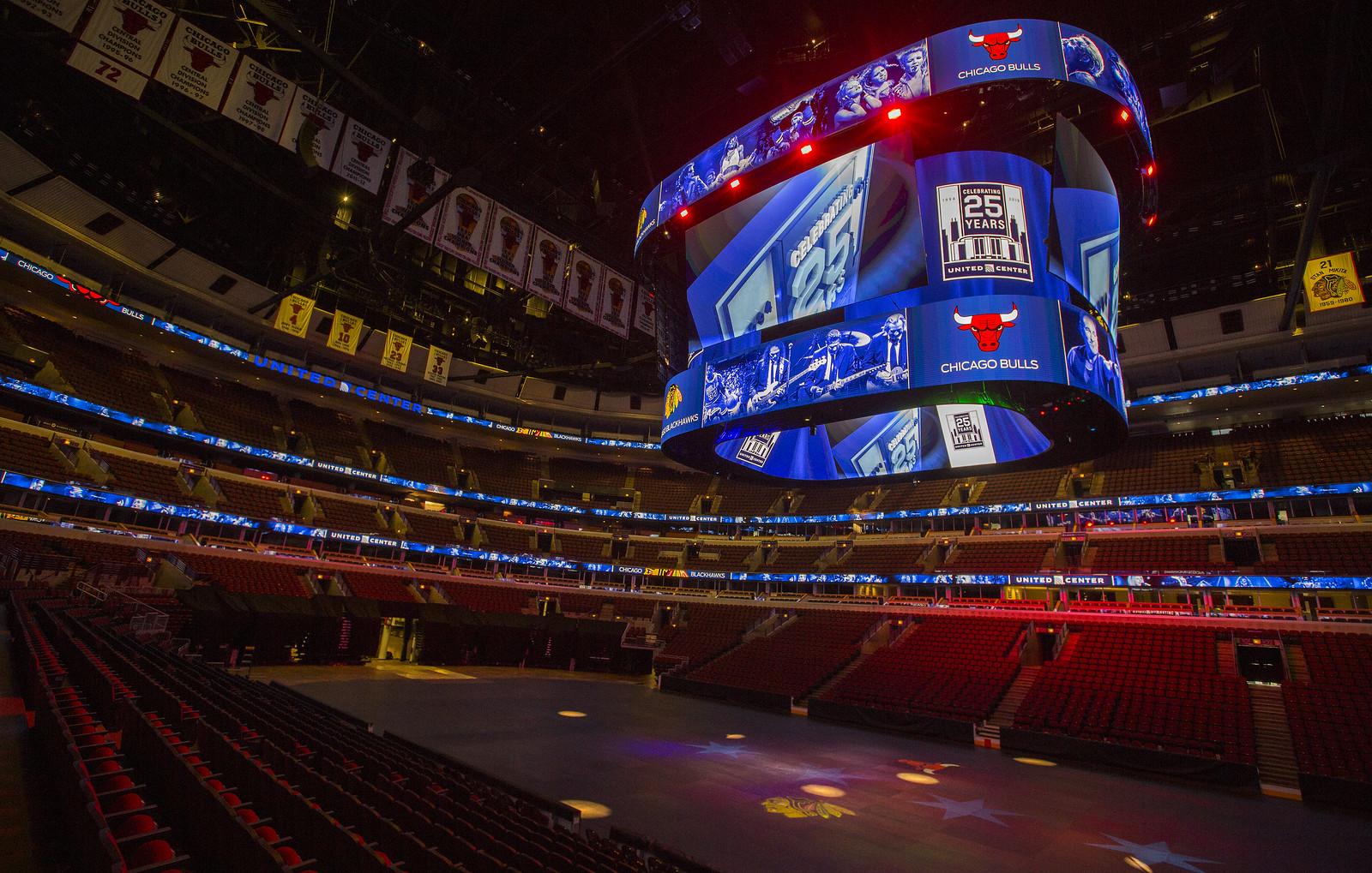 The new scoreboard inside the United Center.