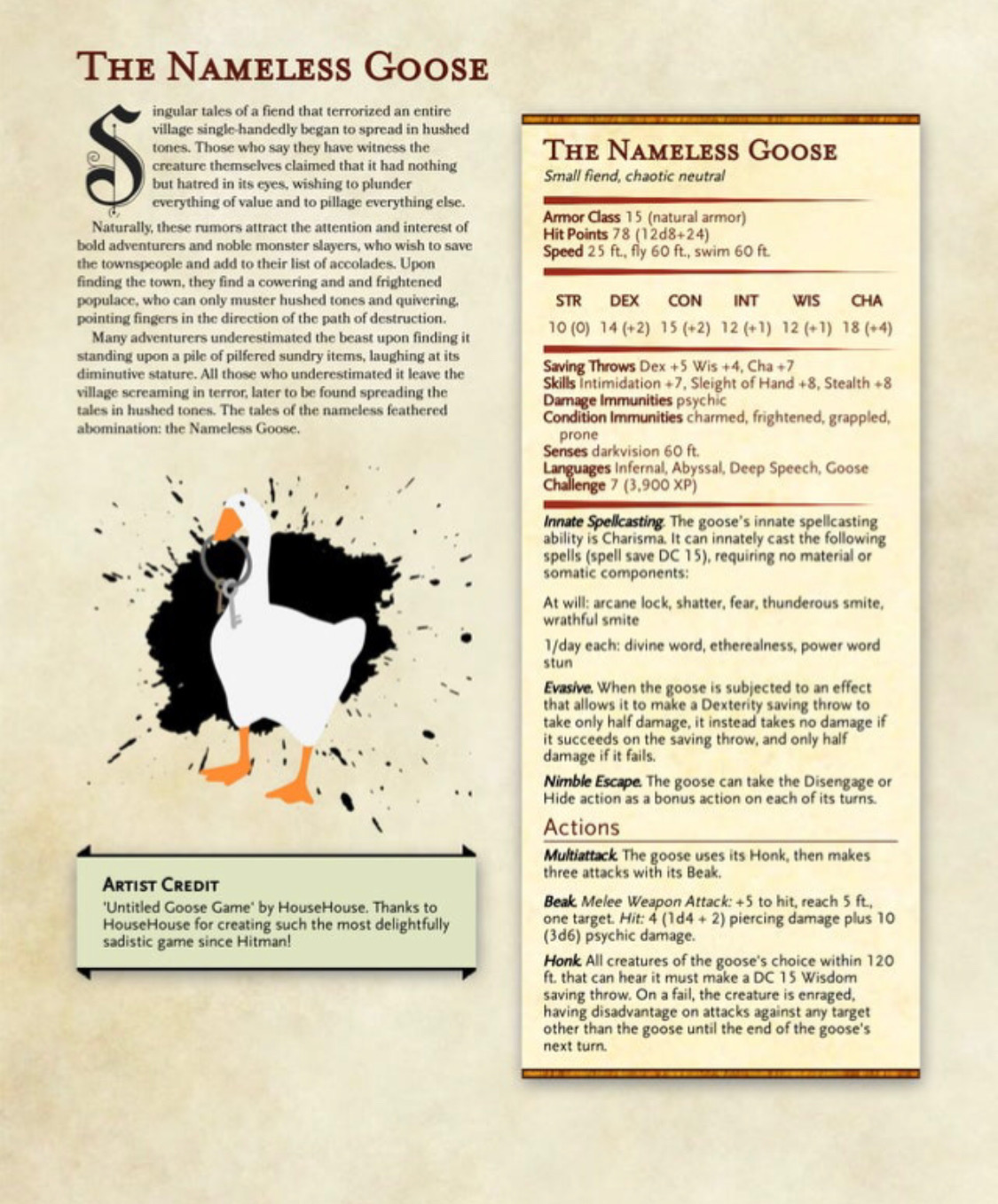 How to add the Untitled Goose Game goose to your next D&D campaign