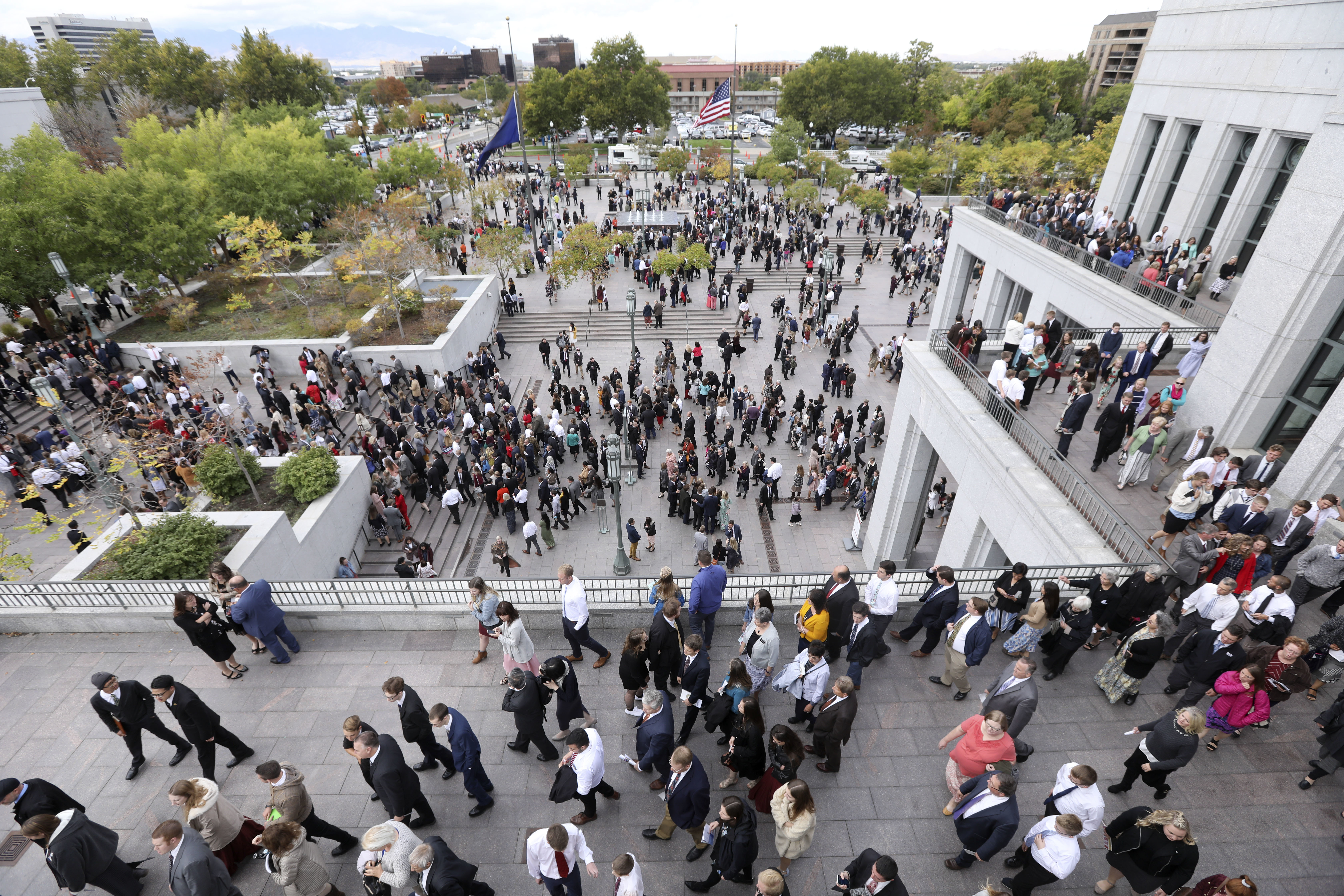 Conferencegoers leave the Sunday morning session of the 188th Semiannual General Conference of The Church of Jesus Christ of Latter-day Saints held in the Conference Center in downtown Salt Lake City on Sunday, Oct. 7, 2018.