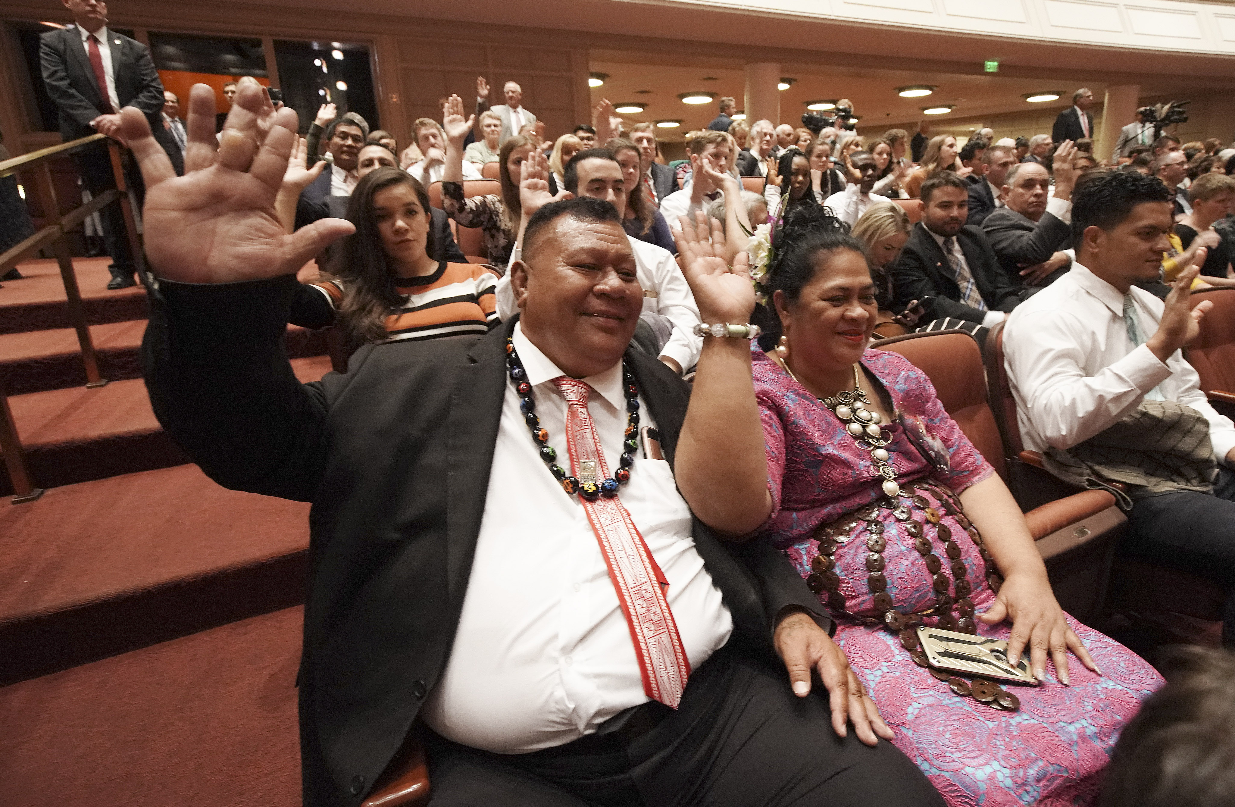 Lolani Leneti and Wendy Prescott sustain church leaders during the Saturday afternoon session of the 189th Semiannual General Conference of The Church of Jesus Christ of Latter-day Saints in the Conference Center in Salt Lake City on Saturday, Oct. 5, 2019.