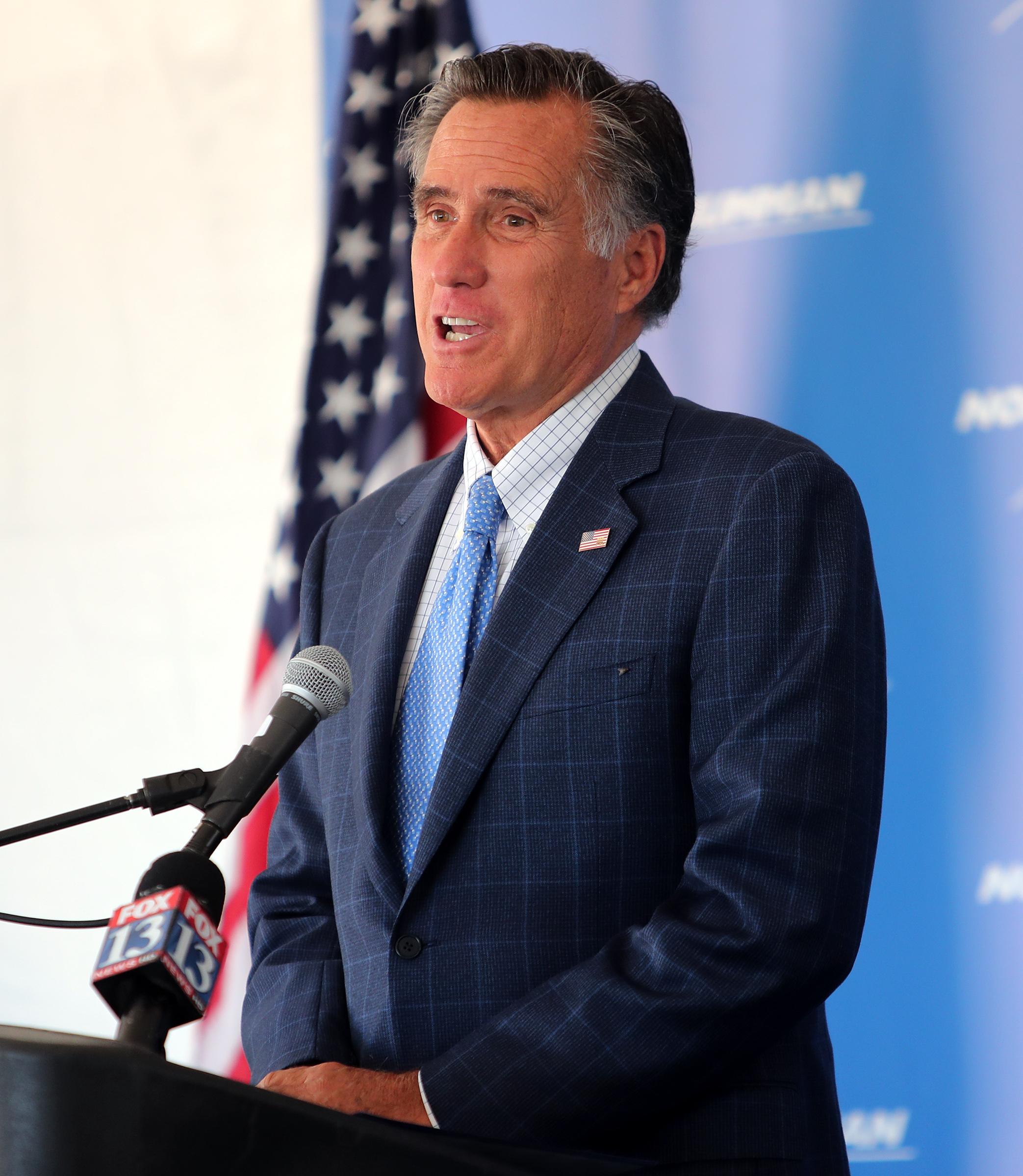 Sen. Mitt Romney, R-Utah, speaks during a groundbreaking ceremony for Northrop Grumman's missile defense development facility in Roy on Tuesday, Aug. 27, 2019.