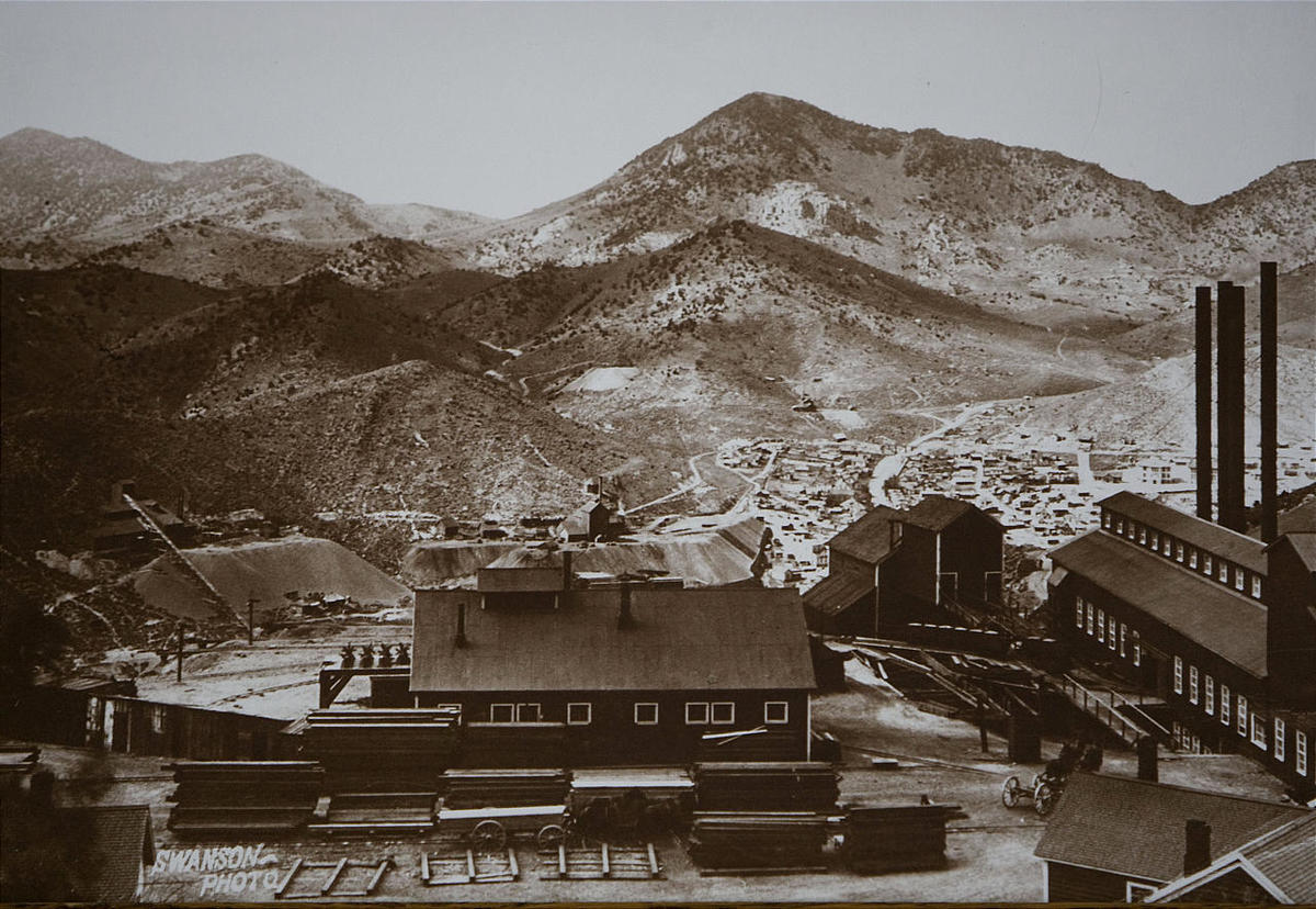 The Centennial - Eureka Surface mine above Eureka, Utah at the height of it's mining industry. Photo courtesy of the Tintic Mining Museum