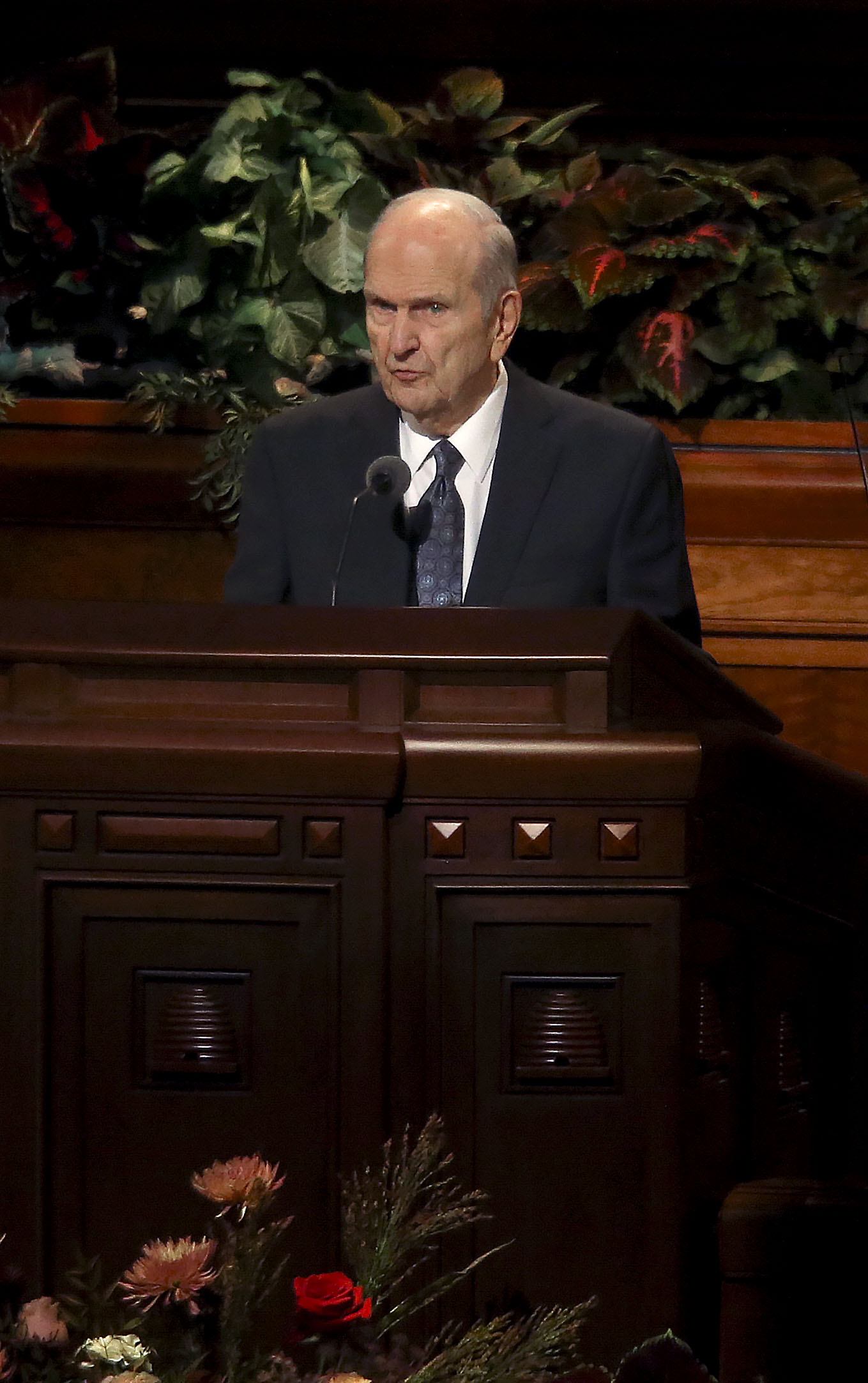 President Russell M. Nelson, of The Church of Jesus Christ of Latter-day Saints, speaks during the Sunday afternoon session of the 189th Semiannual General Conference of The Church of Jesus Christ of Latter-day Saints in Salt Lake City on Sunday, Oct. 6, 2019.