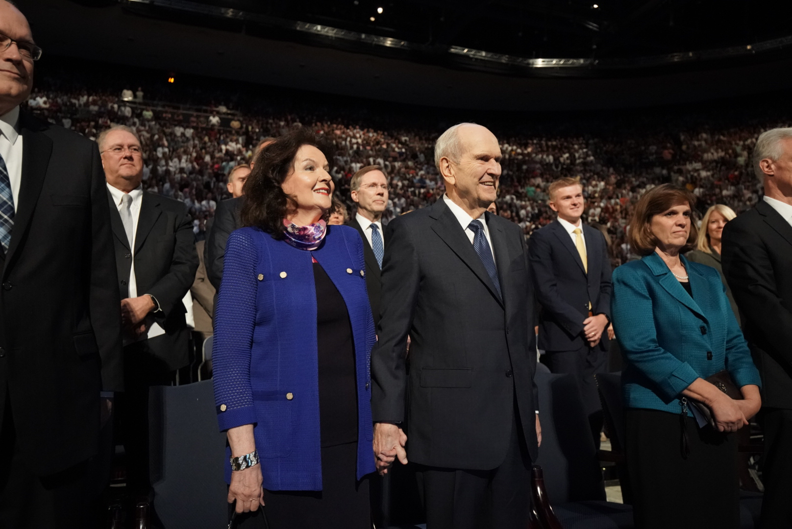 President Russell M. Nelson of The Church of Jesus Christ of Latter-day Saints and his wife Sister Wendy Nelson stands before speaking at a devotional at Brigham Young University in Provo on Tuesday, Sept. 17, 2019.