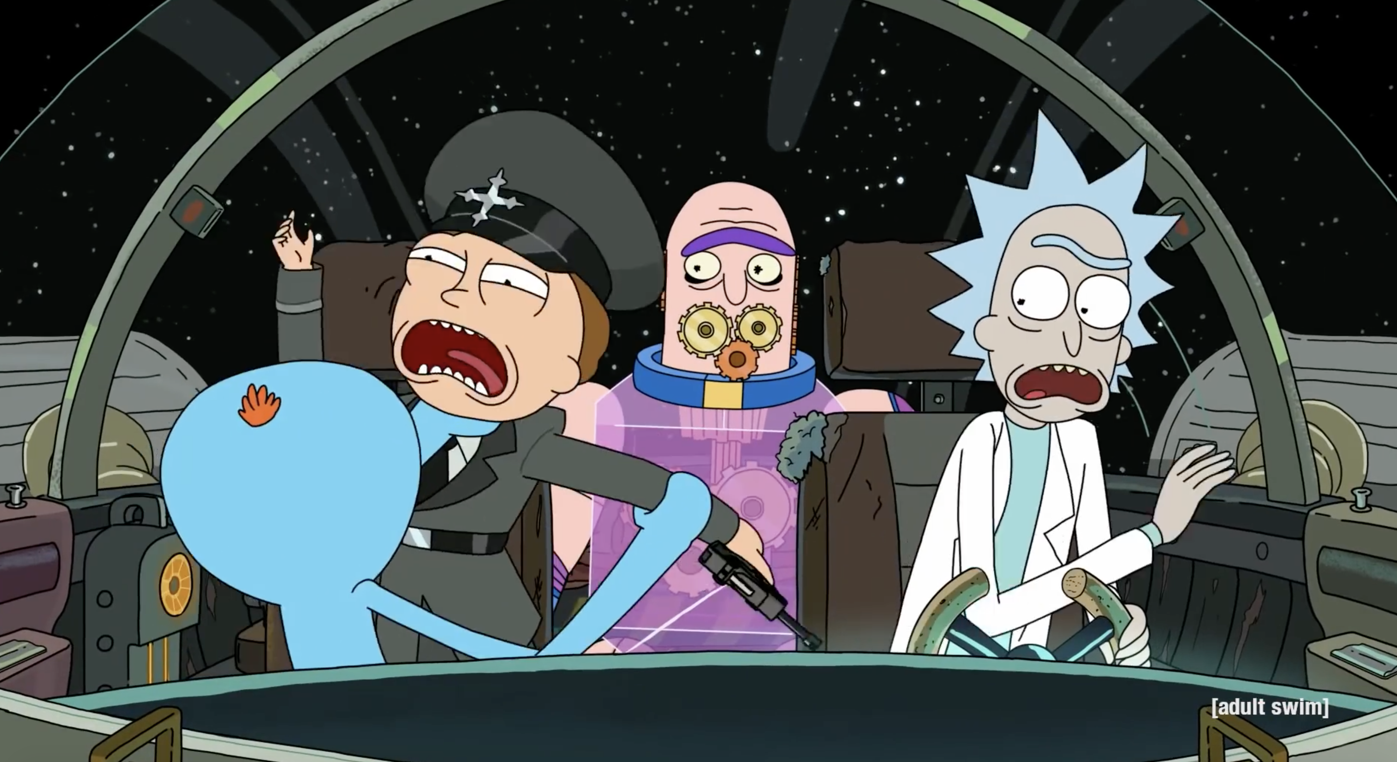 rick and morty in a spaceship. rick is driving, morty is wearing a uniform. some sort of clockwork alien sits in the back. Mr. Meeseeks attacks morty, who screams. rick looks mildly shocked