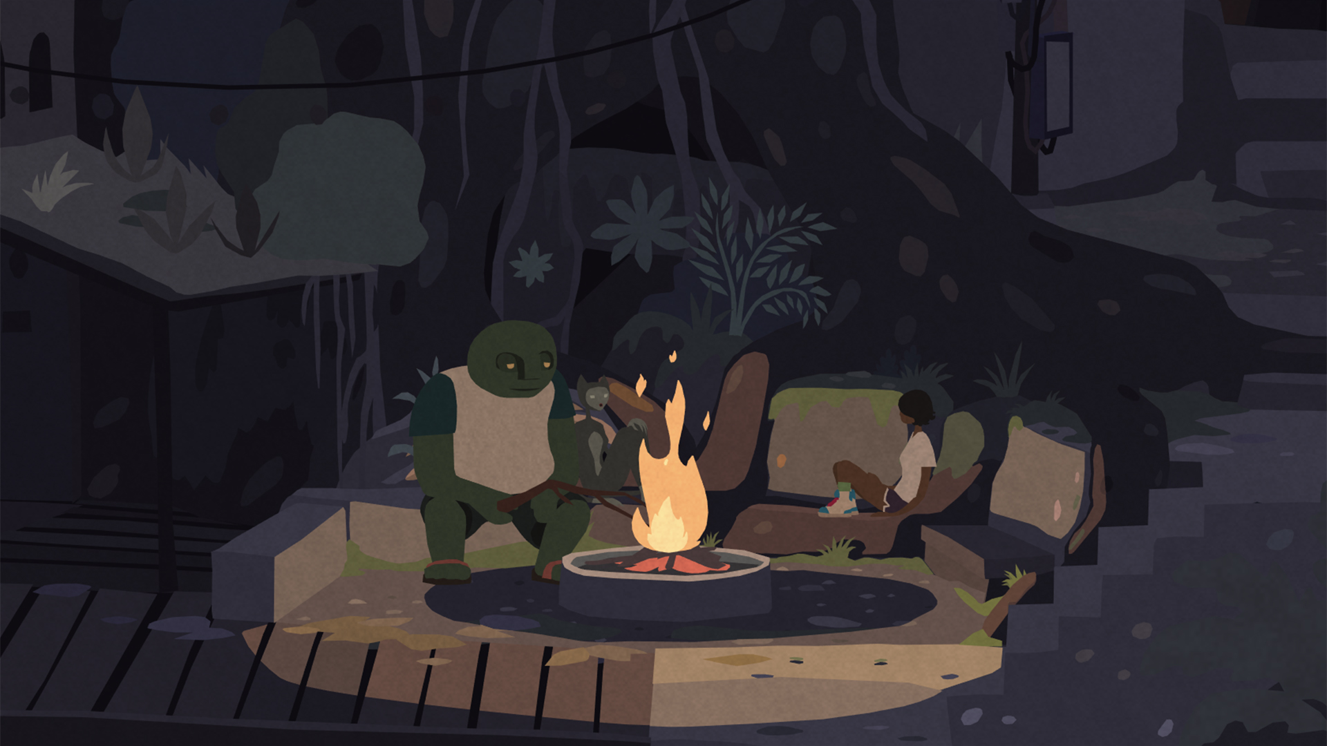 The game's lead character and a friendly mutant relax by the fire