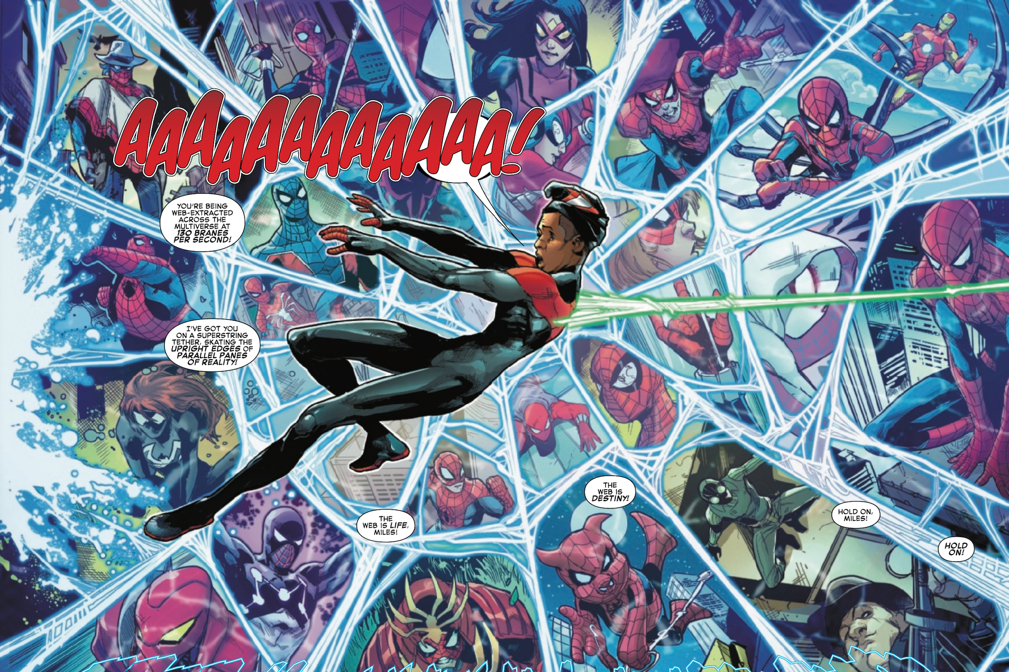 Miles Morales is pulled across dimensions in Spider-Verse #1, Marvel Comics (2019).