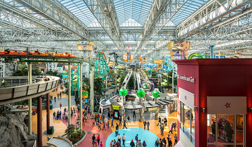 The view from the east entrance into Nickelodeon Universe: a giant indoor amusement park