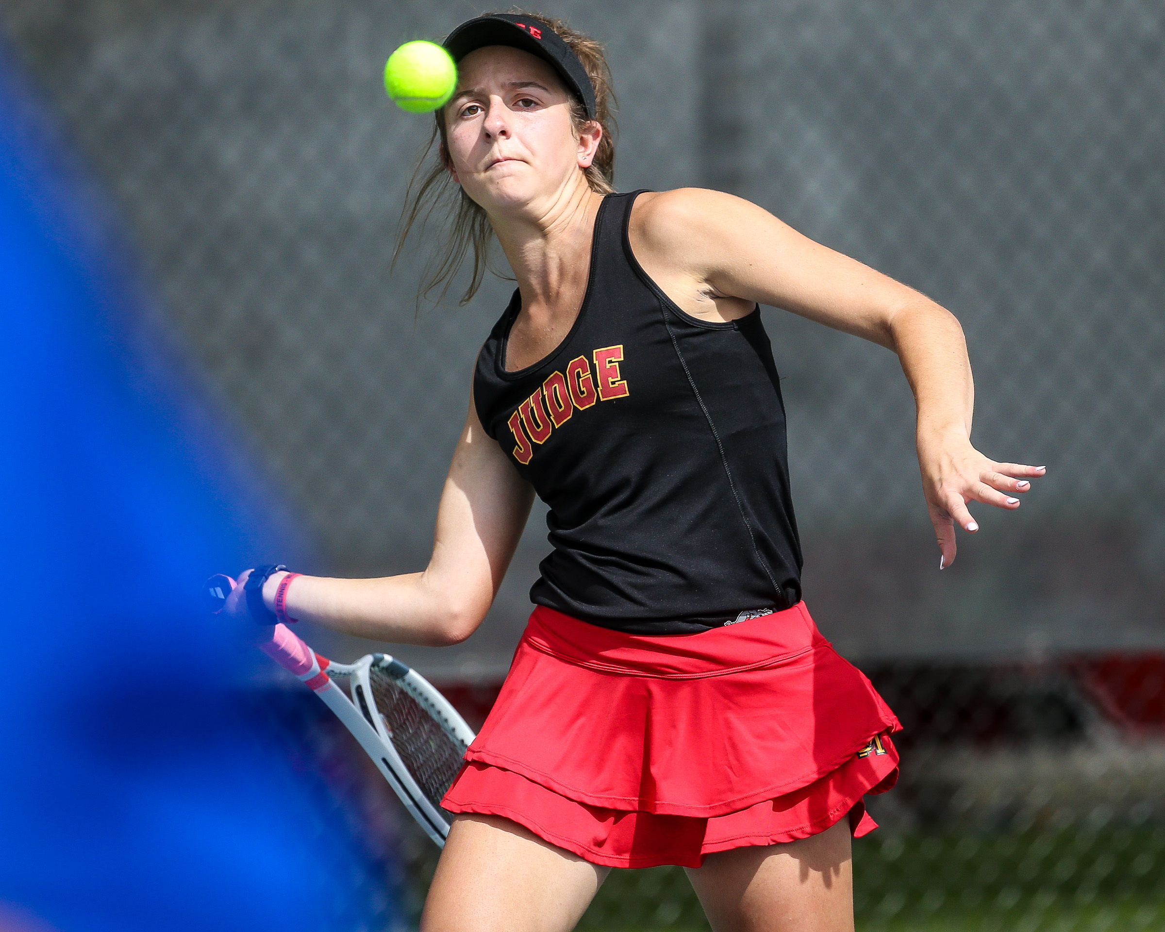 Judge Memorial's Olivia Anderson competes in the No. 2 singles championship match against Waterford's Noelle Kieffer during the 3A state tennis tournament at the Liberty Park Tennis Center in Salt Lake City on Saturday, Sept. 29, 2018.
