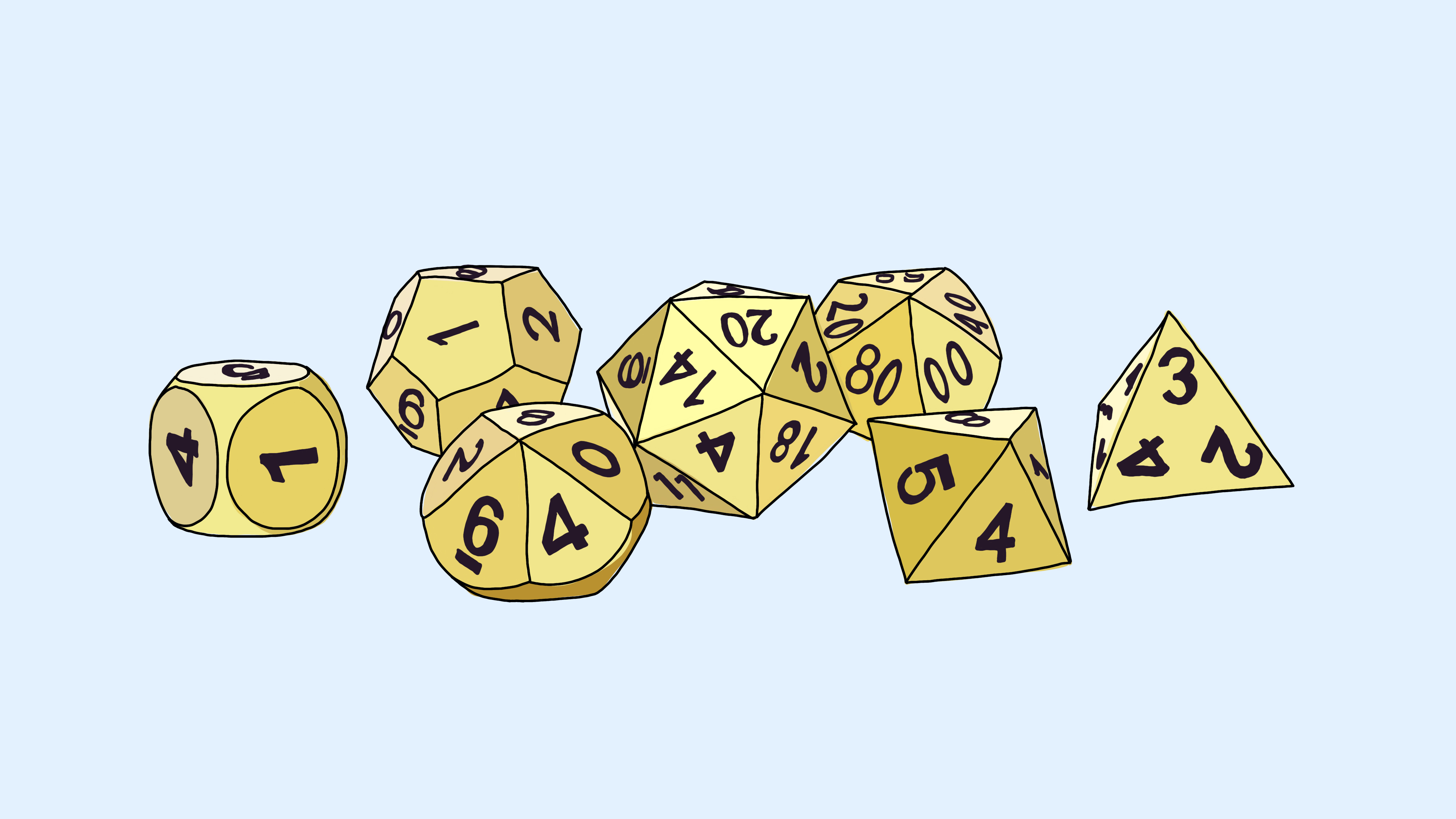 A set of many-sided dice.