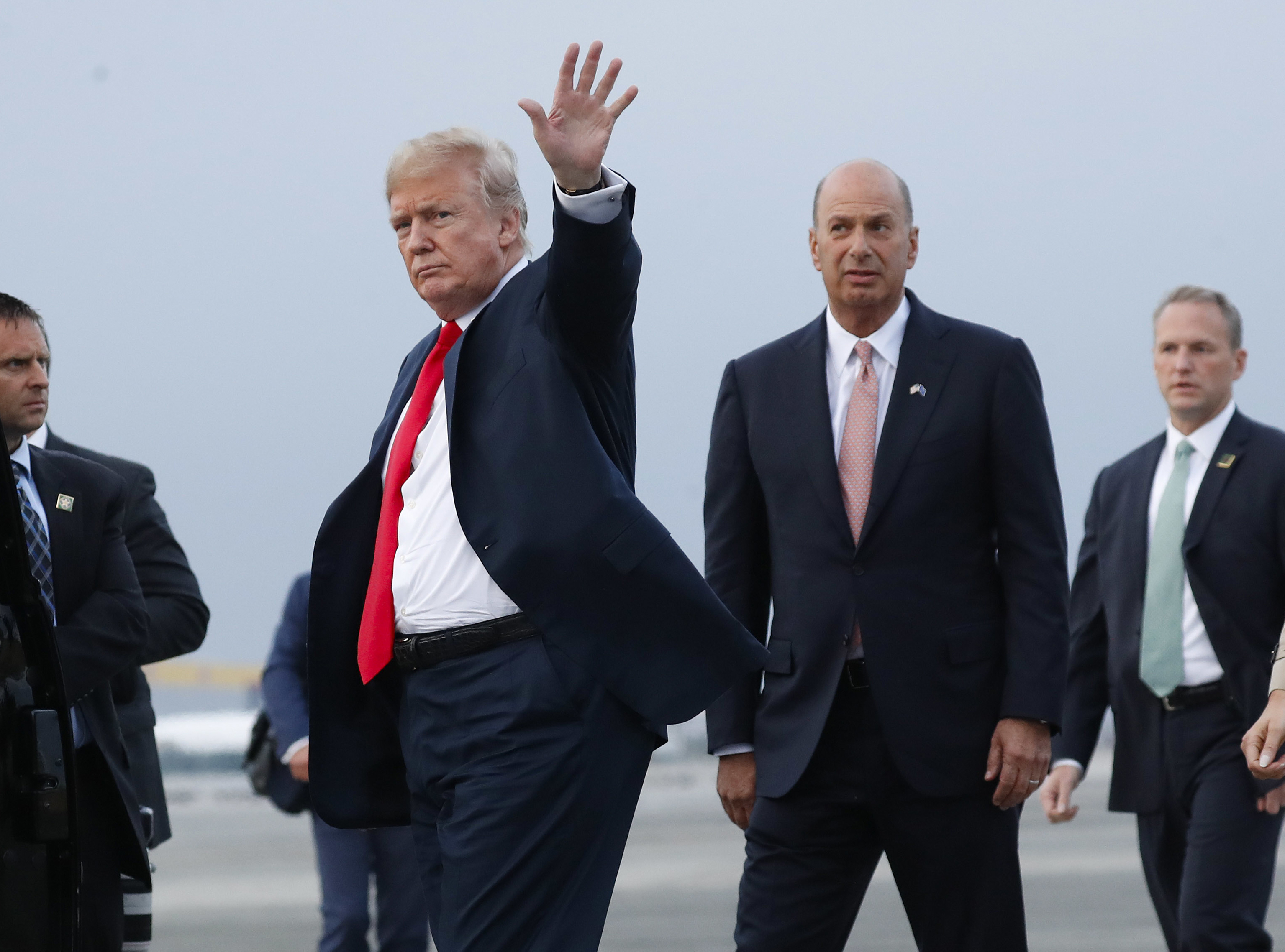President Donald Trump with Gordon Sondland, the U.S. ambassador to the European Union, arriving at Melsbroek Air Base, in Brussels, Belgium, in July 2018.
