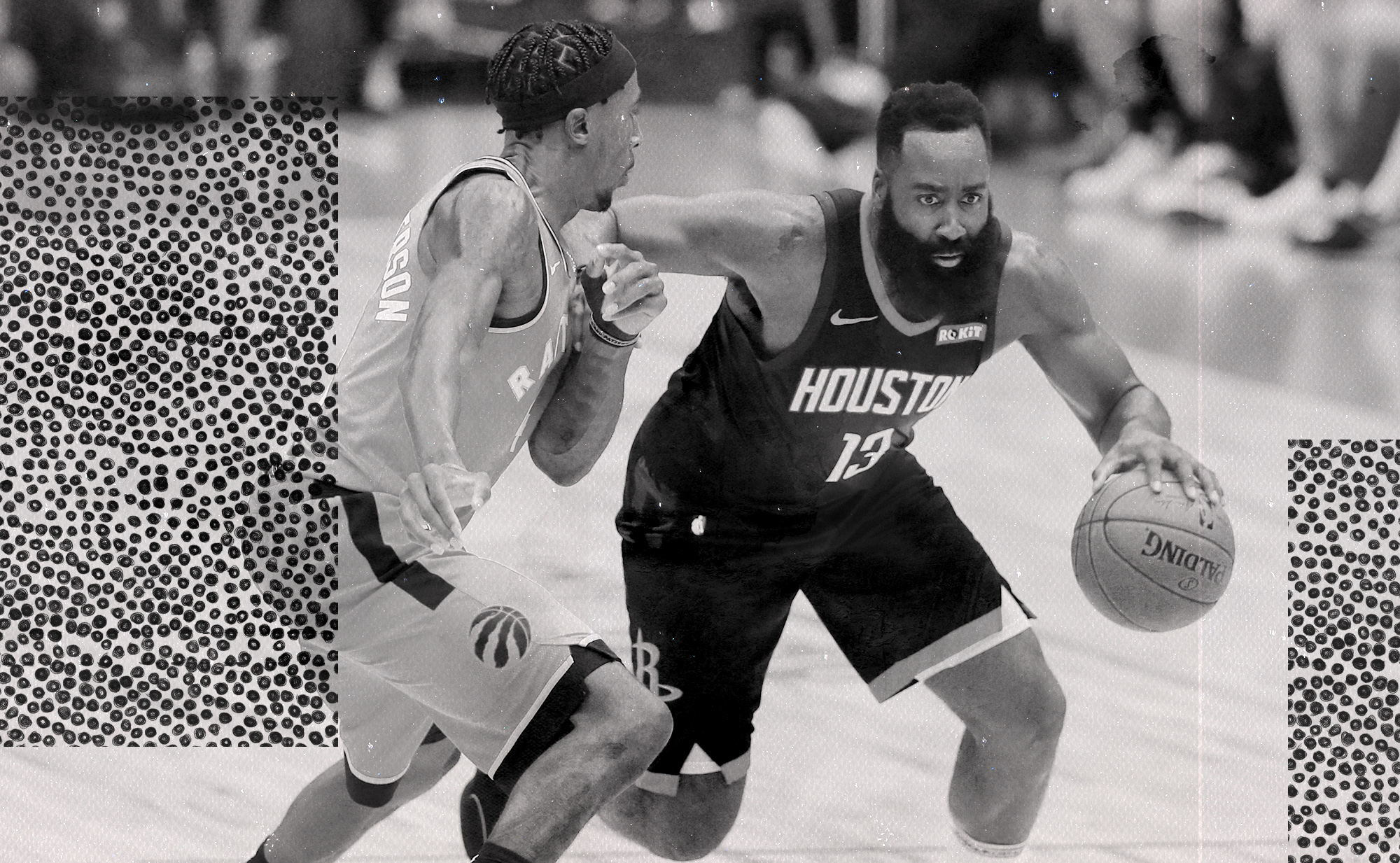 James Harden being defended by Rondae Hollis-Jefferson