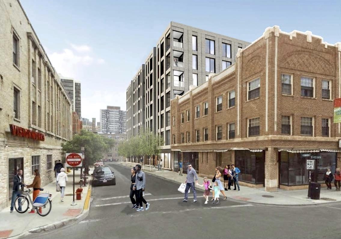A rendering of a three-story brick building on a corner. A new seven-story residential building rises next door.