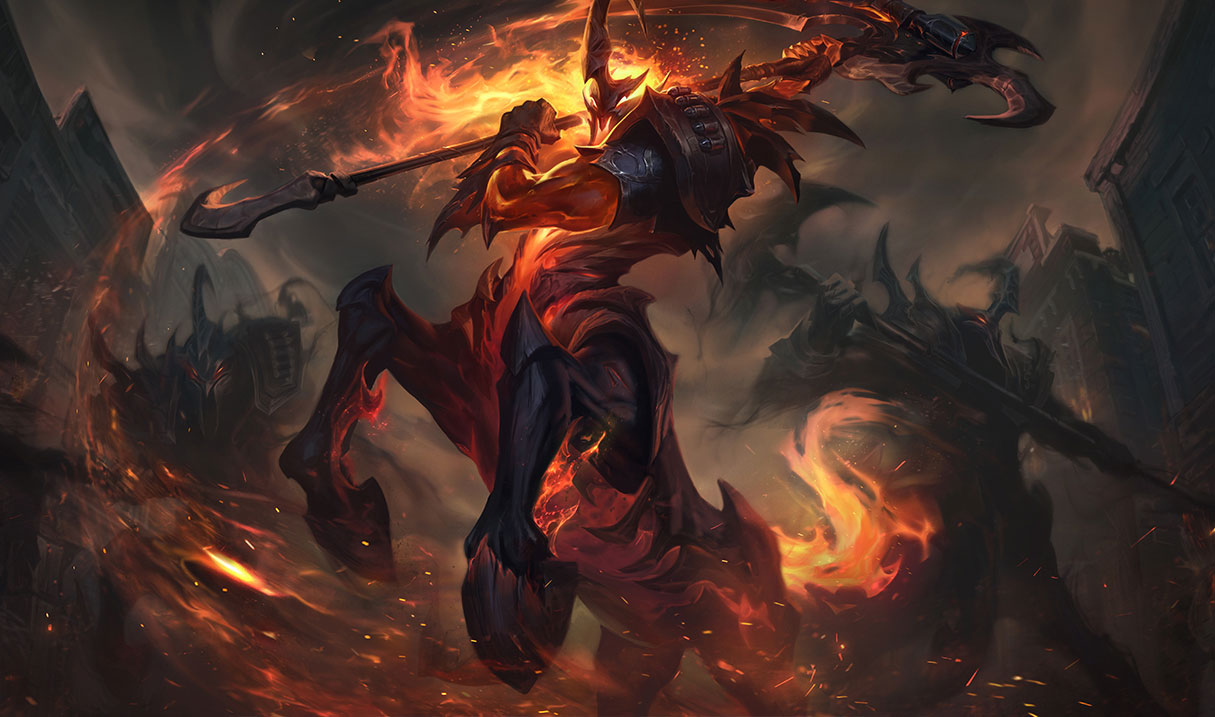 High Noon Hecarim swings his blade around, while shadows surround him