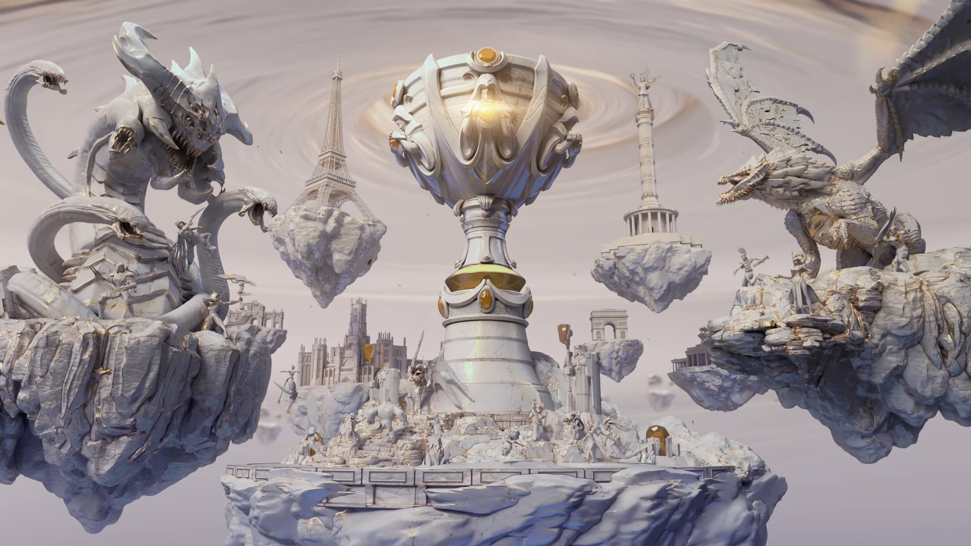 Marble statues of League of Legends champions and monsters surround the Summoner's Cup