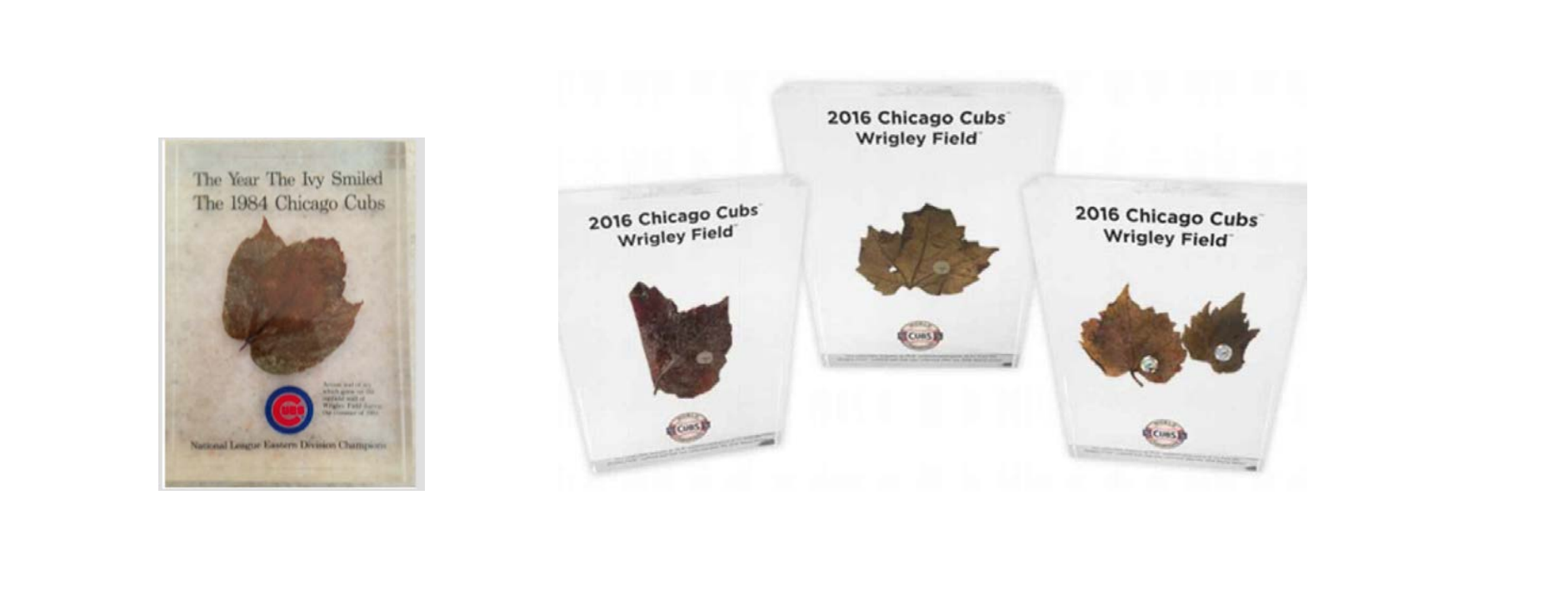 "The ""Fox Commemorative"" (far left) compared to the commemorative items the Cubs made for sale after the team won the 2016 World Series."