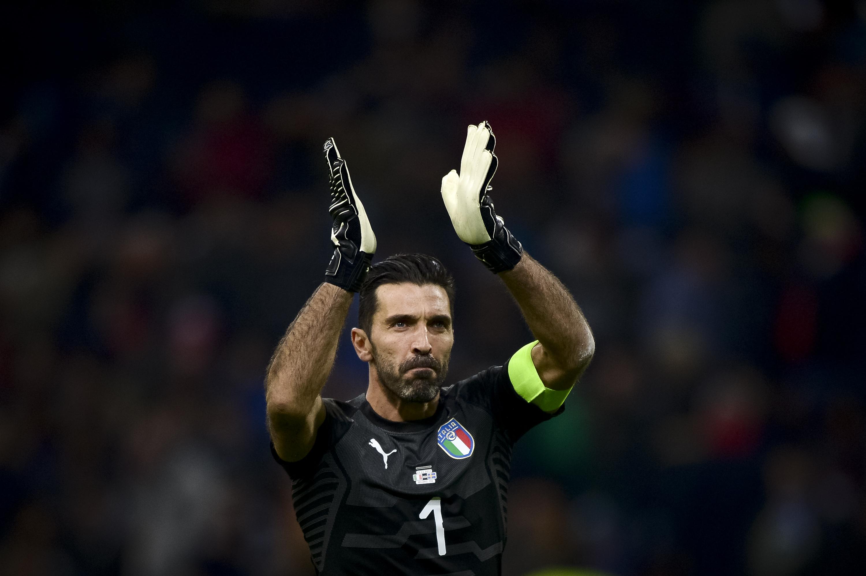 Gianluigi Buffon of Italy claps during the FIFA 2018 World...