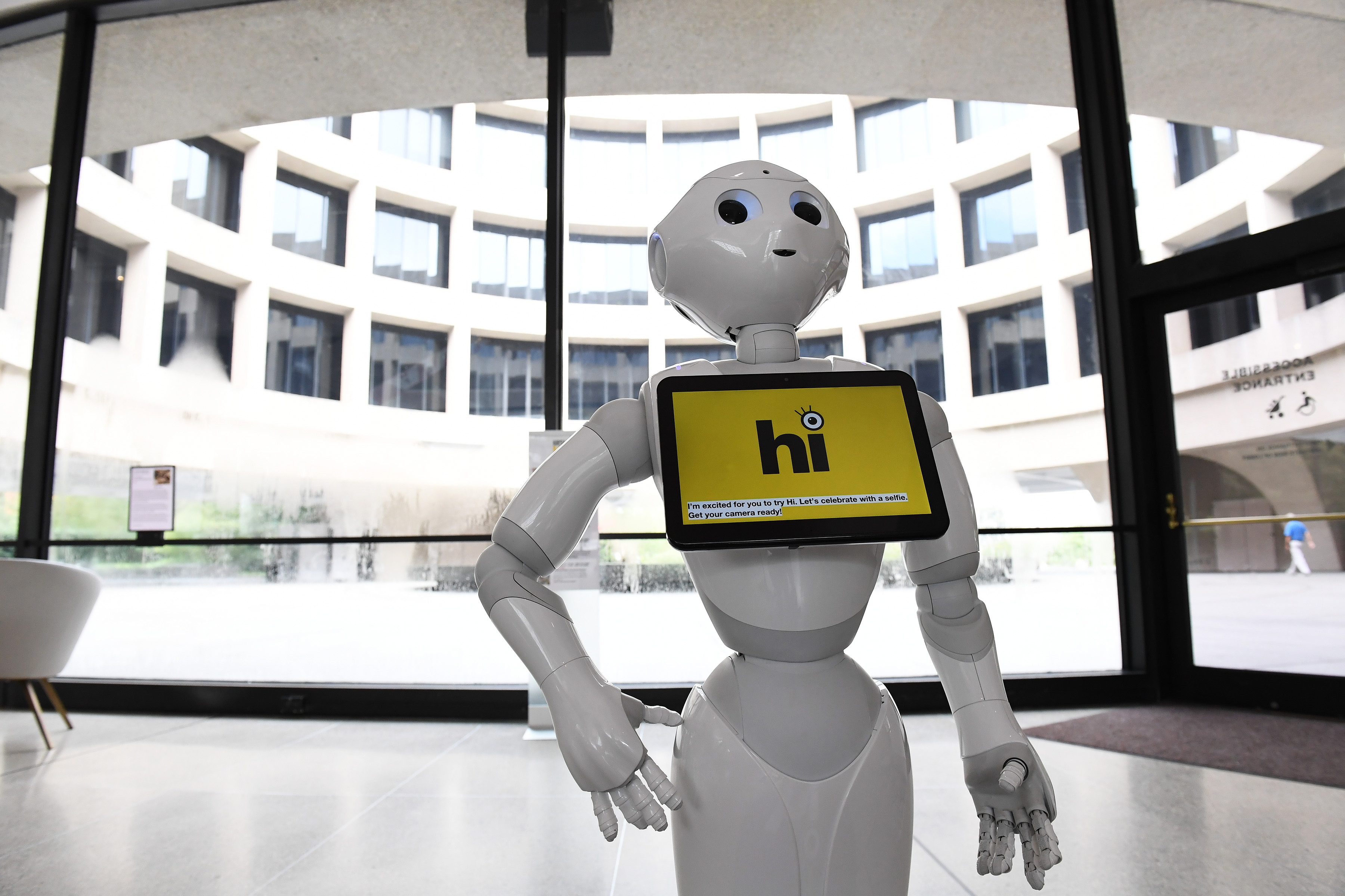 Pepper, an interactive robot is seen at the Smithsonian's Hirshhorn Museum on Monday October 08, 2018 in Washington, DC. The robots are also being used at other Smithsonian locations.