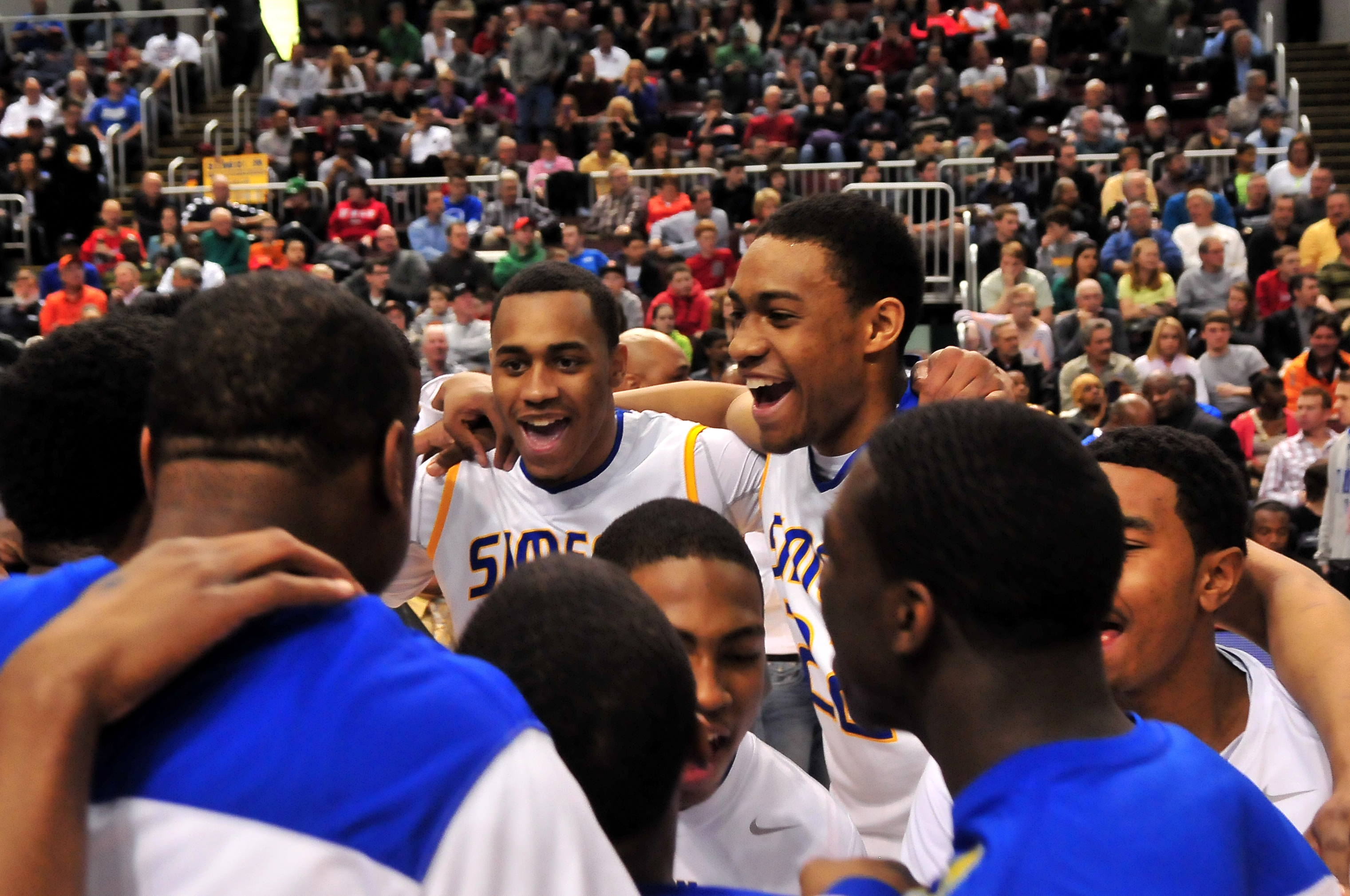 Simeon's Russell Woods (left) and Jabari Parker (right) smile as they get ready to take on Stevenson in the Class 4A state championship game.