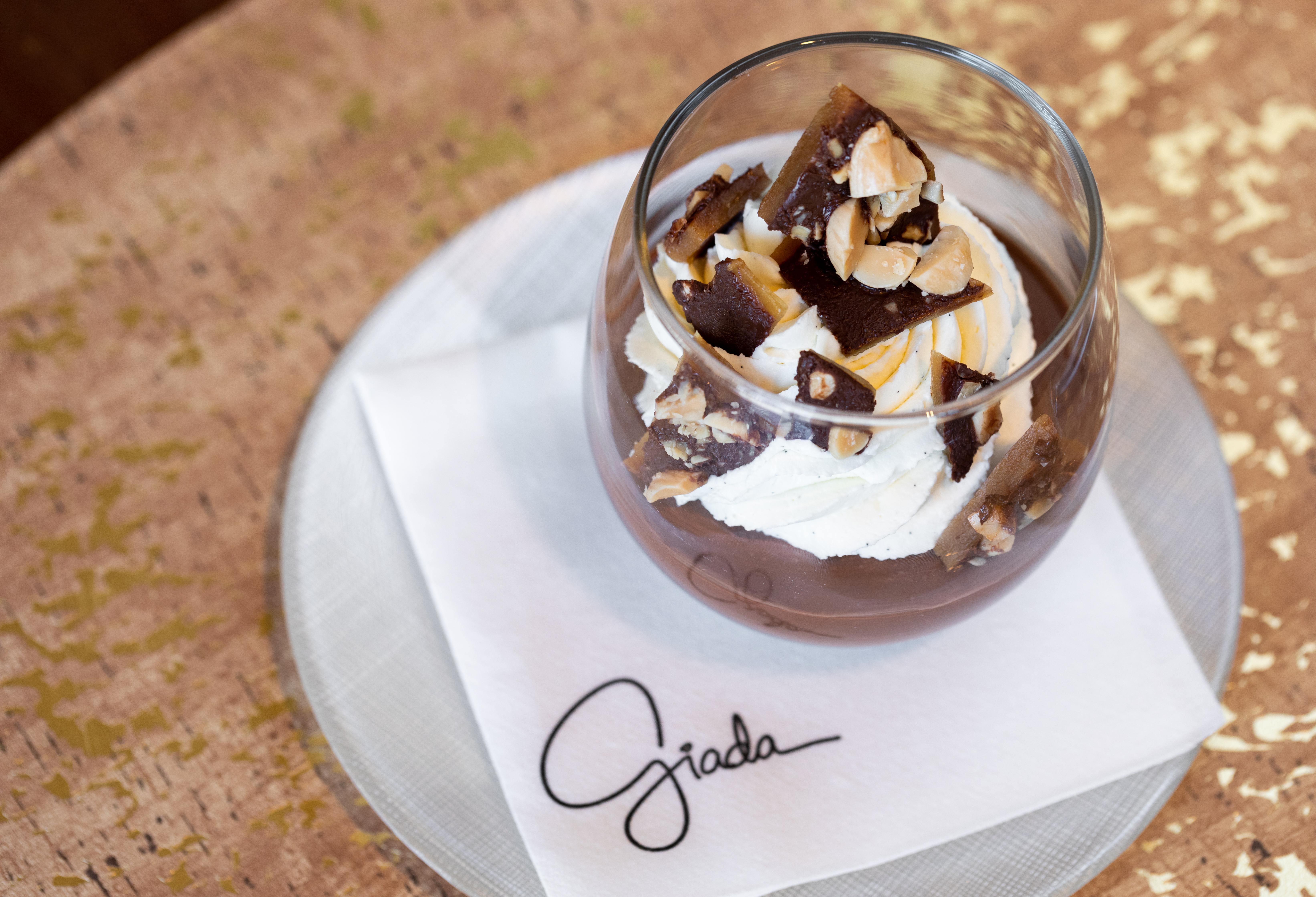 Chocolate budino with amaretto whipped cream