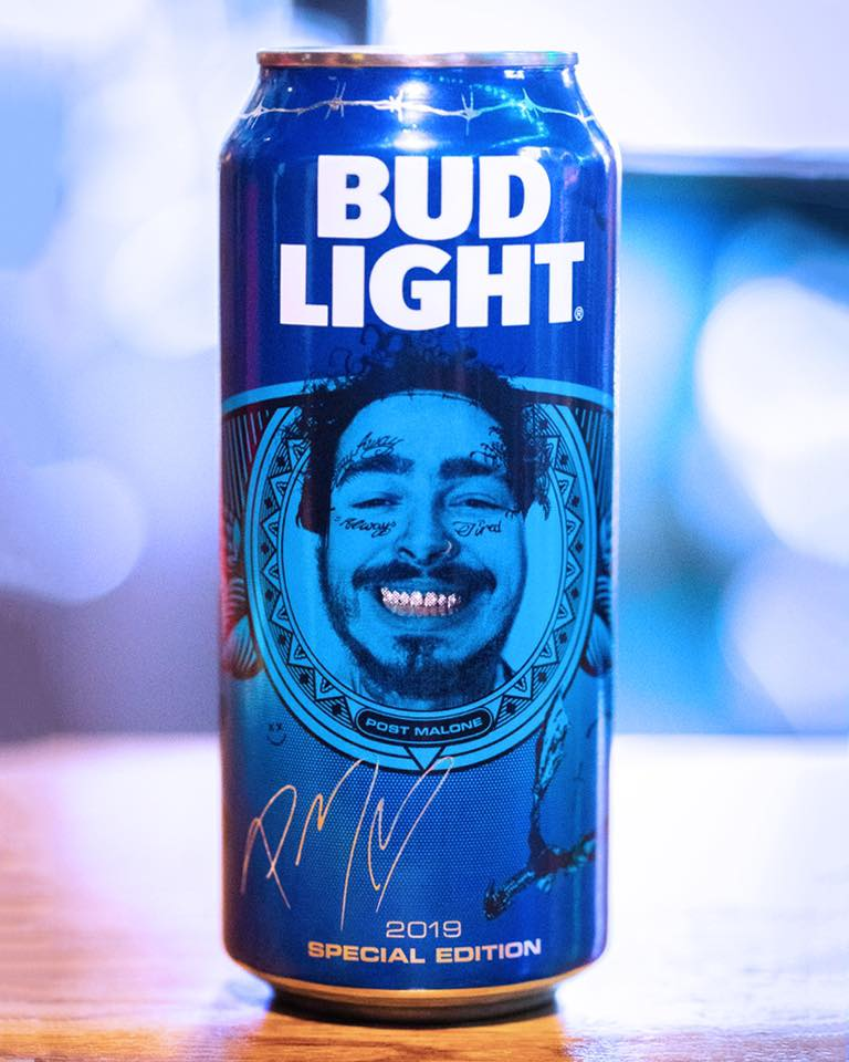 Bud Light can with Post Malone's face on it