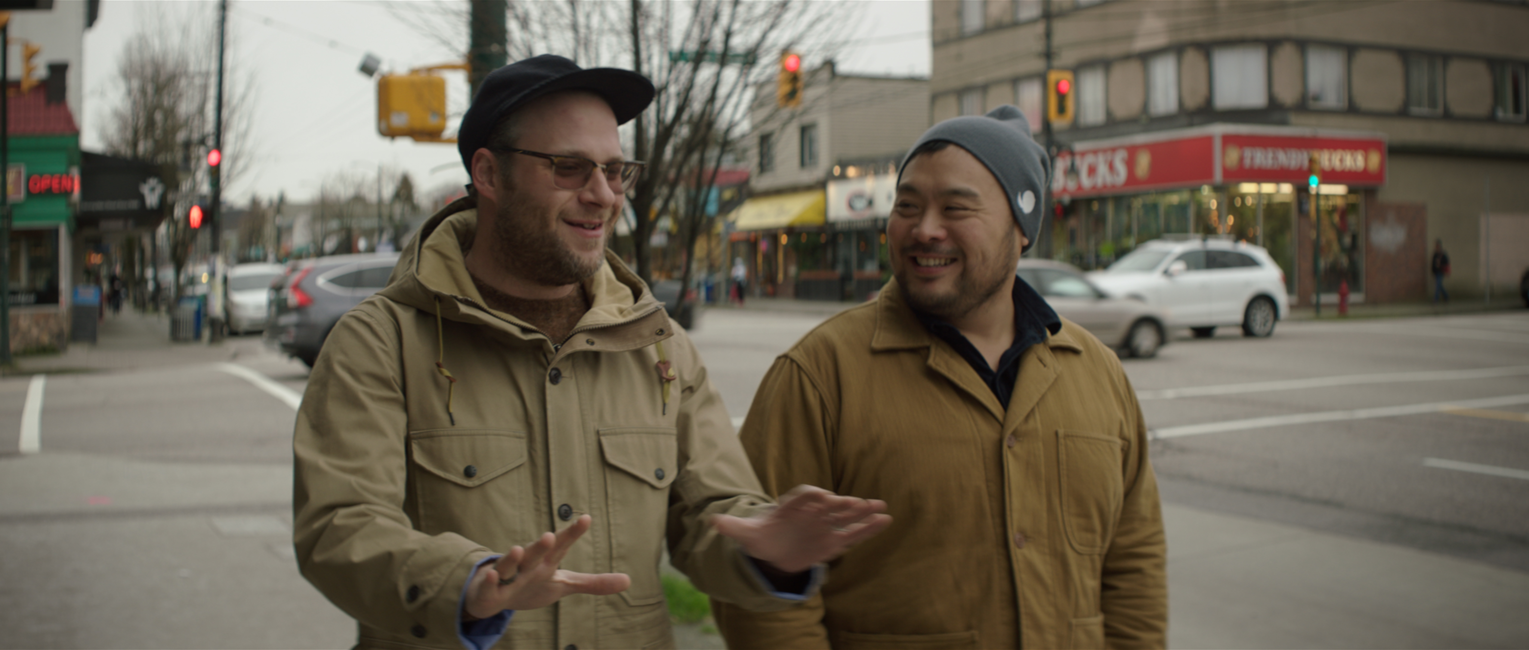 Seth Rogen and David Chang in Vancouver.